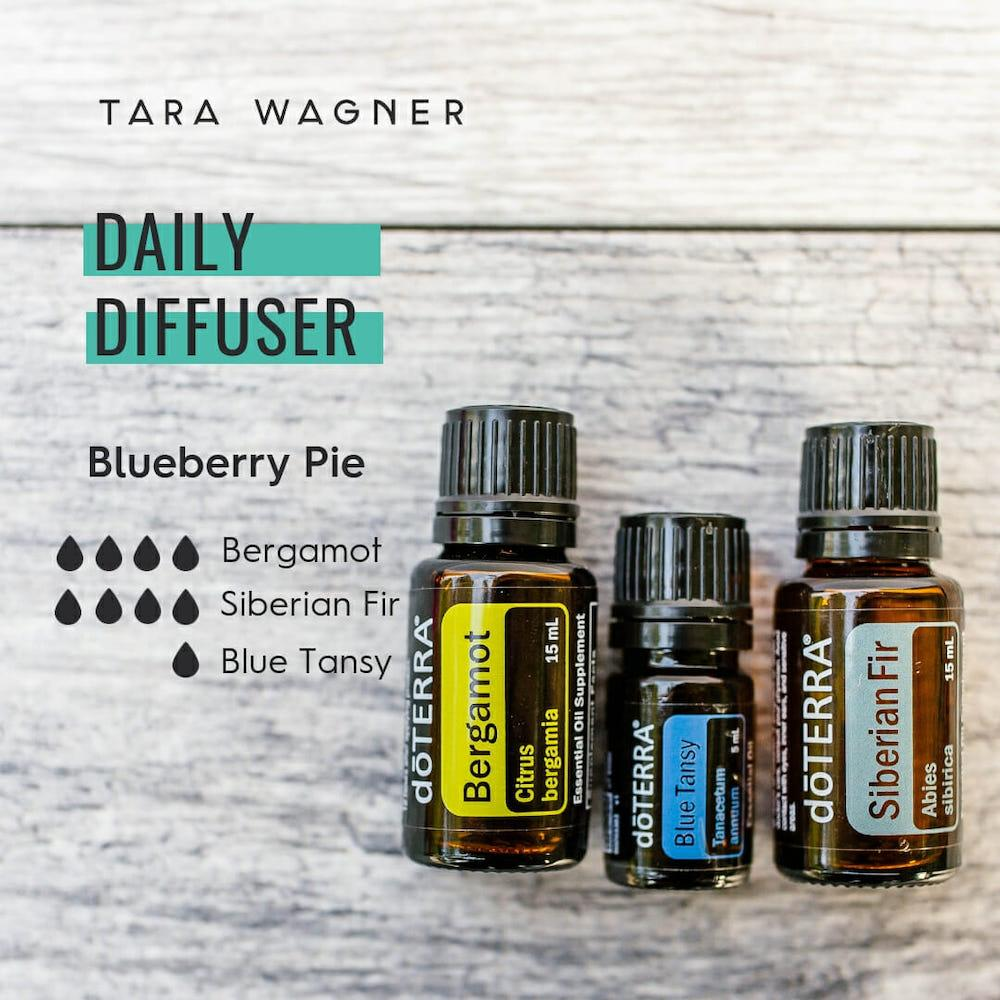Diffuser recipe called Blueberry Pie depicting the recipe: 4 drops bergamot, 4 drops Siberian fir, and 1 drop blue tansy essential oils