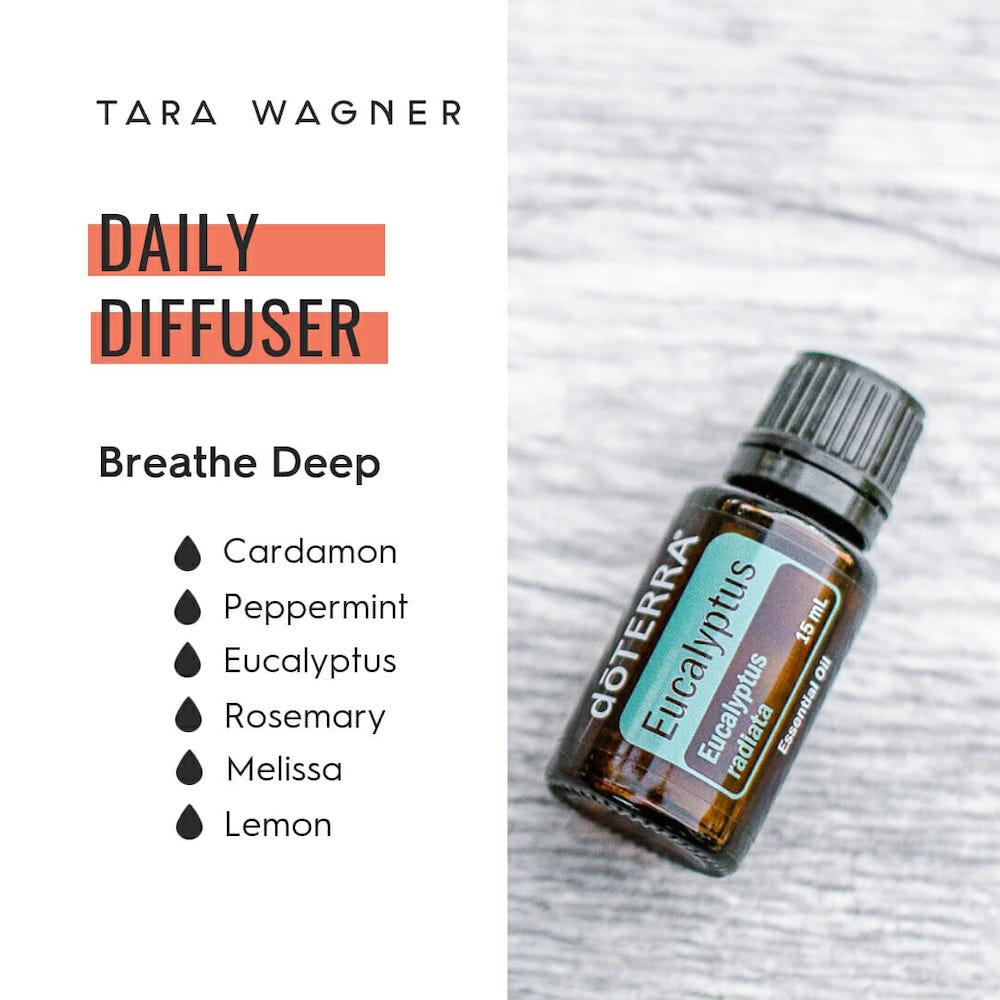 Diffuser recipe called Breathe Deep depicting the recipe: 1 drop each of cardamom, peppermint, eucalyptus, rosemary, Melissa, and lemon essential oils