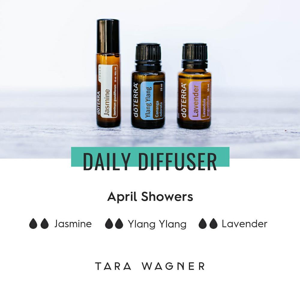 Diffuser recipe called April Showers depicting the recipe: 2 drops each of jasmine, ylang ylang, and lavender essential oils