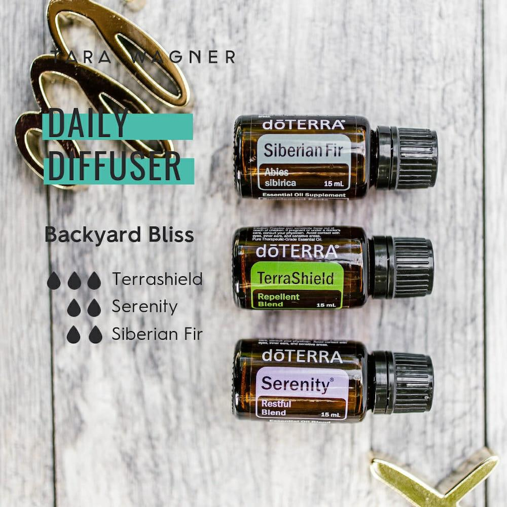 Diffuser recipe called Backyard Bliss depicting the recipe: 3 drops of terra shield, 2 drops serenity, and 2 drops Siberian fir essential oils
