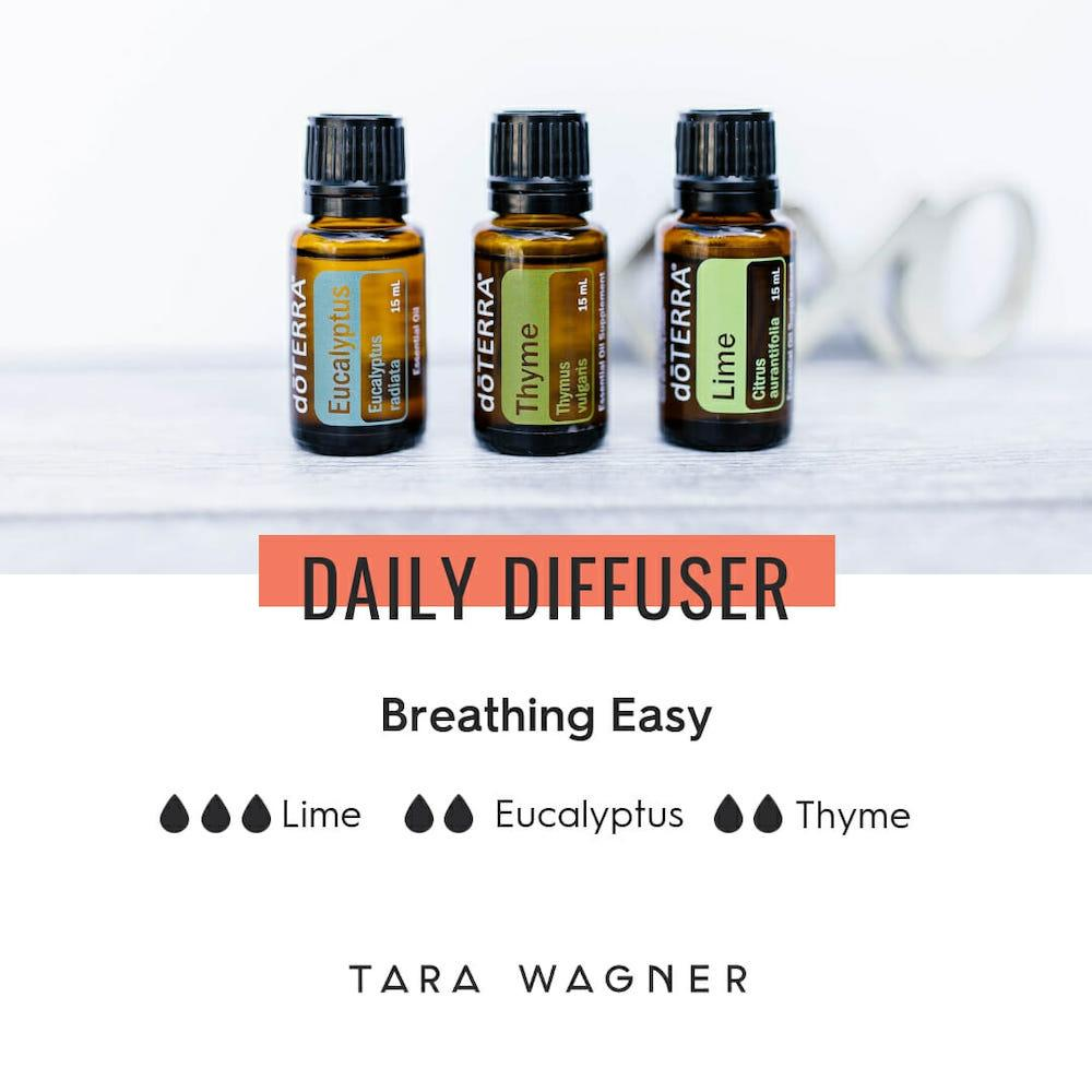 Diffuser recipe called Breathing Easy depicting the recipe: 3 drops lime, 2 drops eucalyptus, and 2 drops thyme essential oils