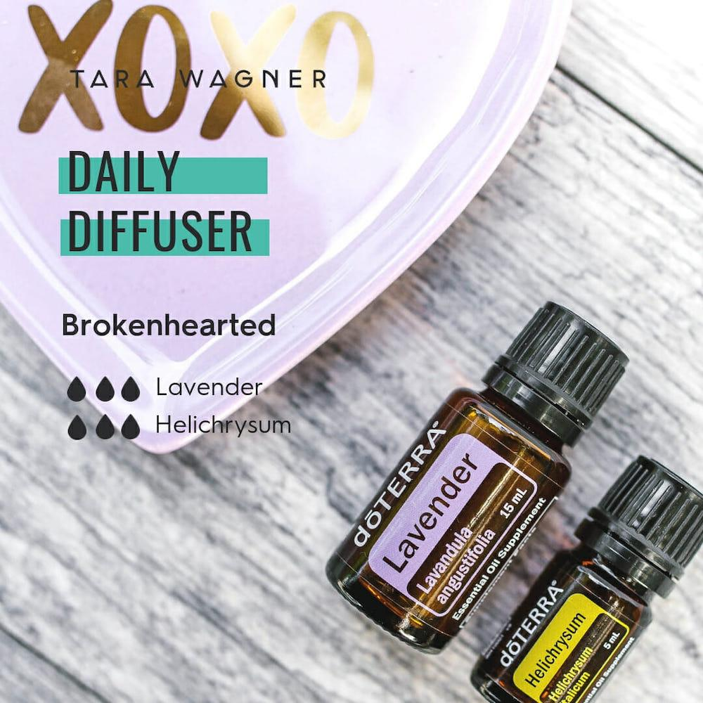 Diffuser recipe called Brokenhearted depicting the recipe: 3 drops each of lavender and helichrysum essential oils