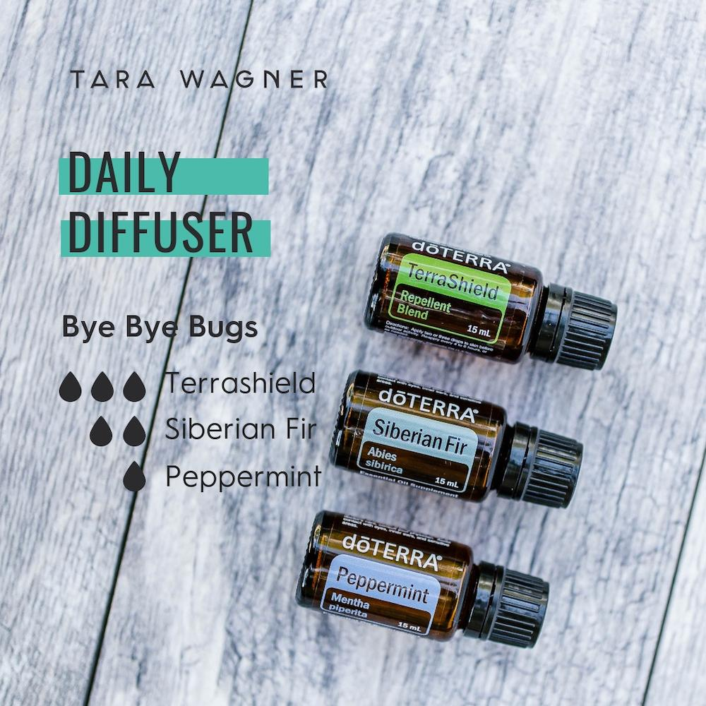 Diffuser recipe called Bye Bye Bugs depicting the recipe: 3 drops terra shield, 2 drops Siberian fir, and 1 drop peppermint essential oils