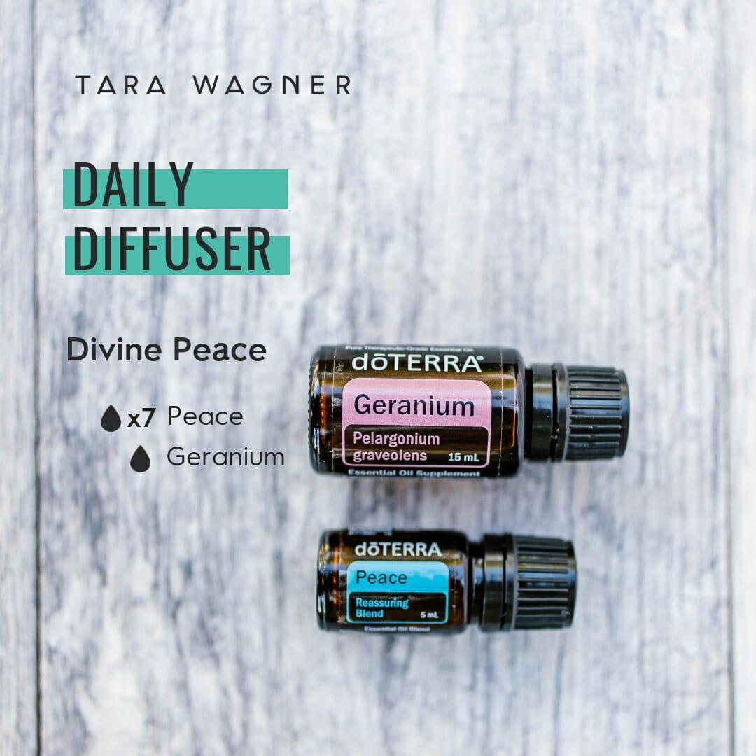 Diffuser recipe called Divine Peace depicting the recipe: 7 drops peace and 1 drop geranium essential oils