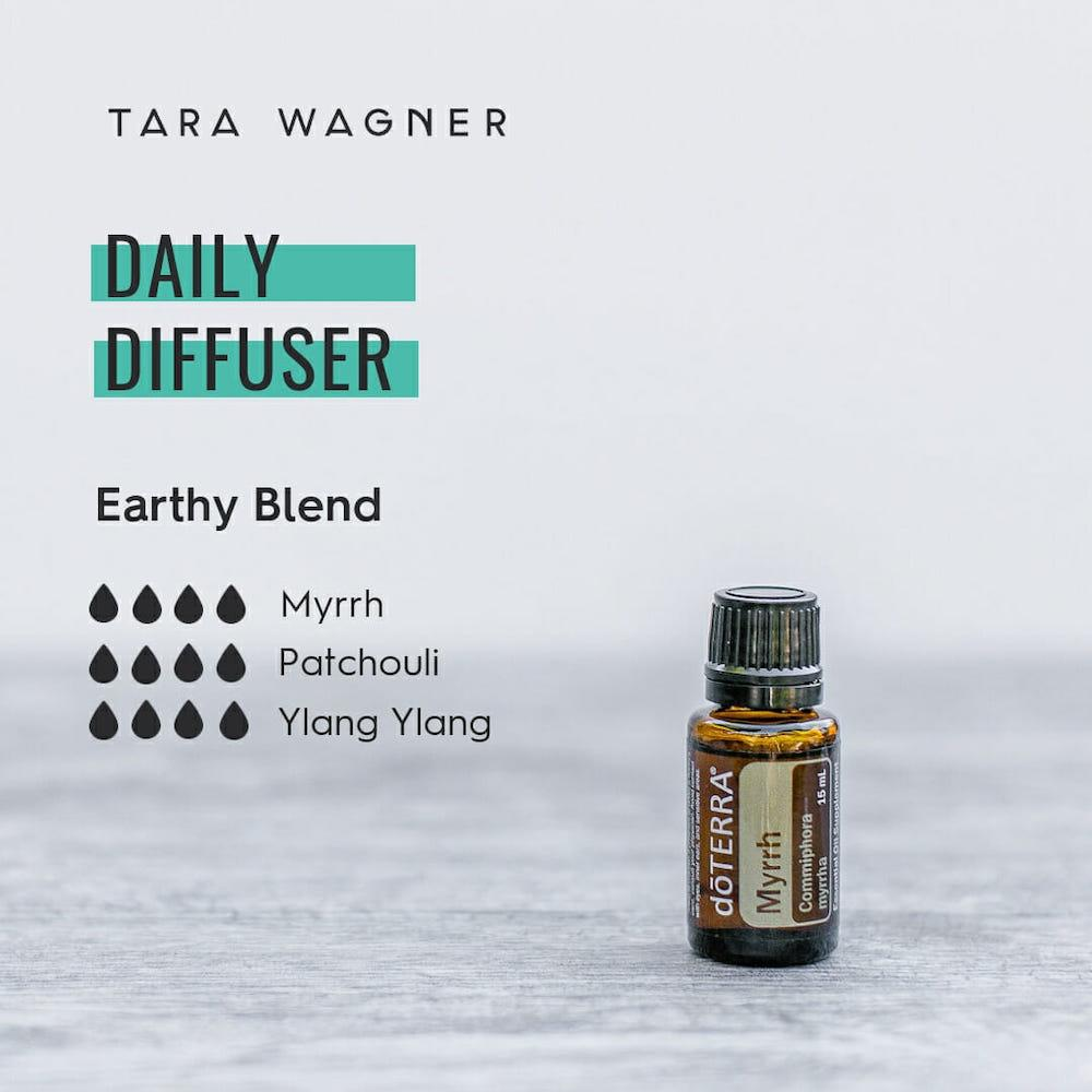 Diffuser recipe called Earthy Blend depicting the recipe: 4 drops each of myrrh, patchouli, and ylang ylang essential oils