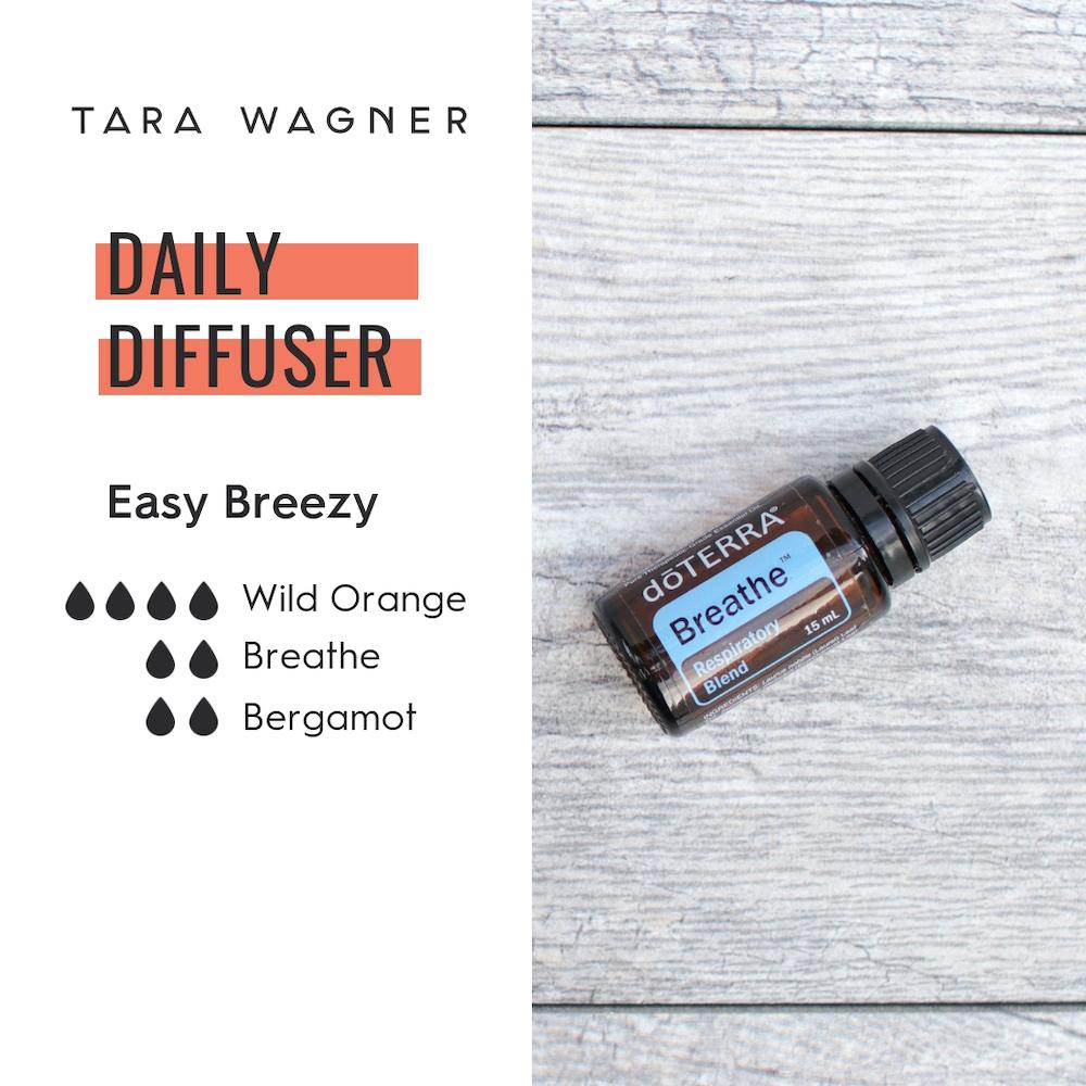 Diffuser recipe called Easy Breezy depicting the recipe: 4 drops wild orange, 2 drops breathe, and 2 drops bergamot essential oils