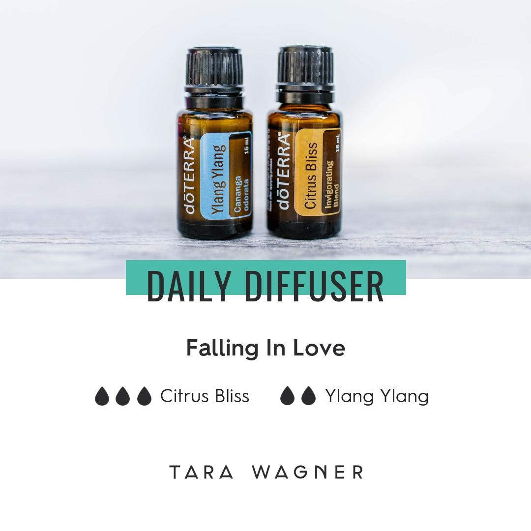 Diffuser recipe called Falling in Love depicting the recipe: 3 drops citrus bliss and 2 drops ylang ylang essential oils