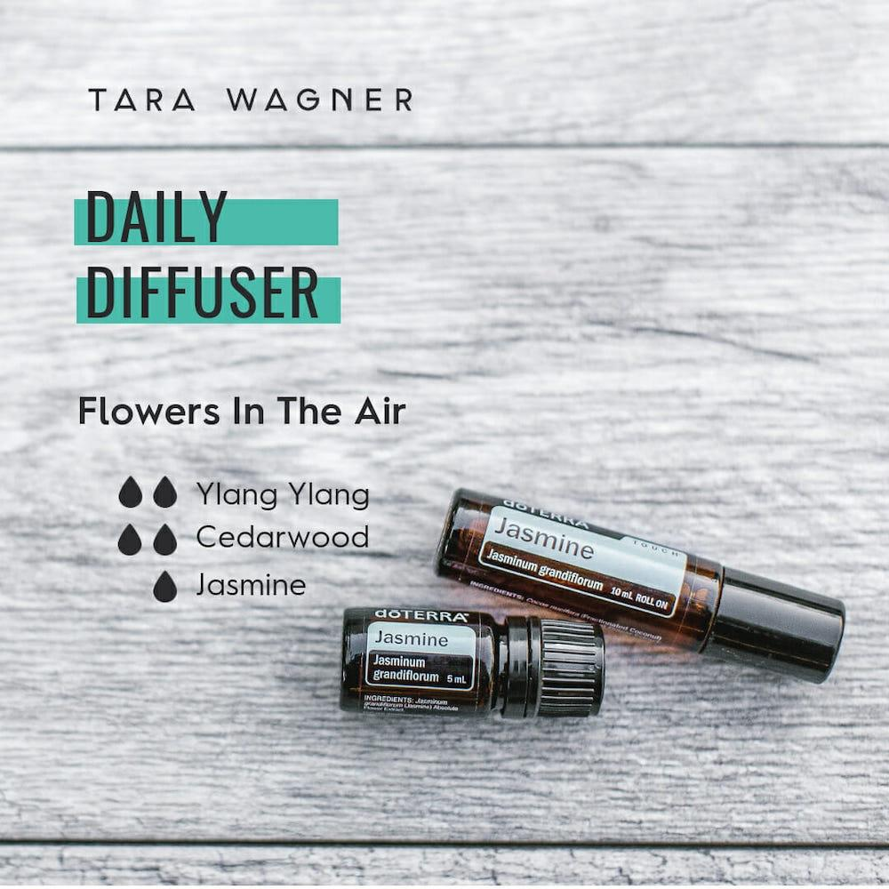 Diffuser recipe called Flowers in the Air depicting the recipe: 2 drops ylang ylang, 2 drops cedarwood, and 1 drop jasmine essential oils