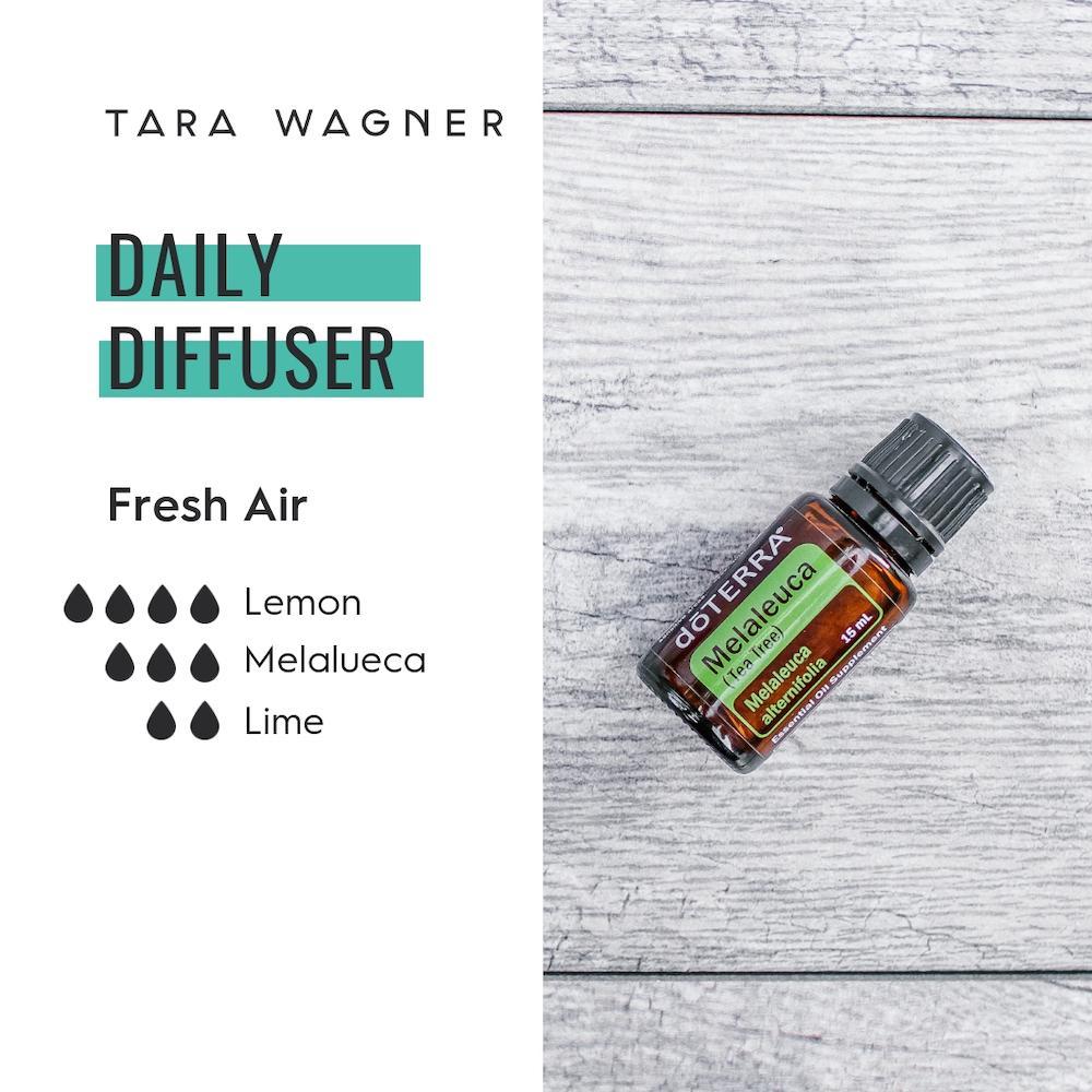 Diffuser recipe called Fresh Air depicting the recipe: 4 drops lemon, 3 drops melaleuca, and 2 drops lime essential oils