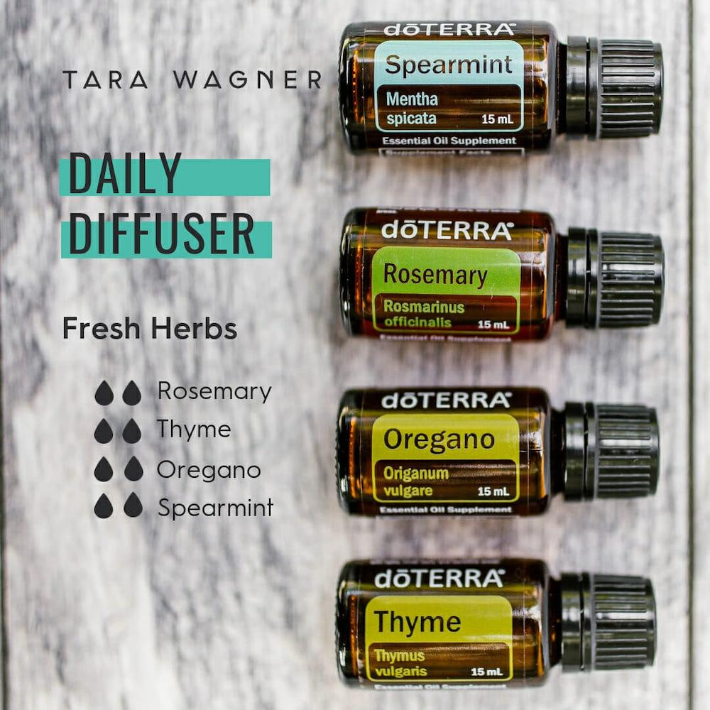 Diffuser recipe called Fresh Herbs depicting the recipe: 2 drops each of rosemary, thyme, oregano, and spearmint essential oils