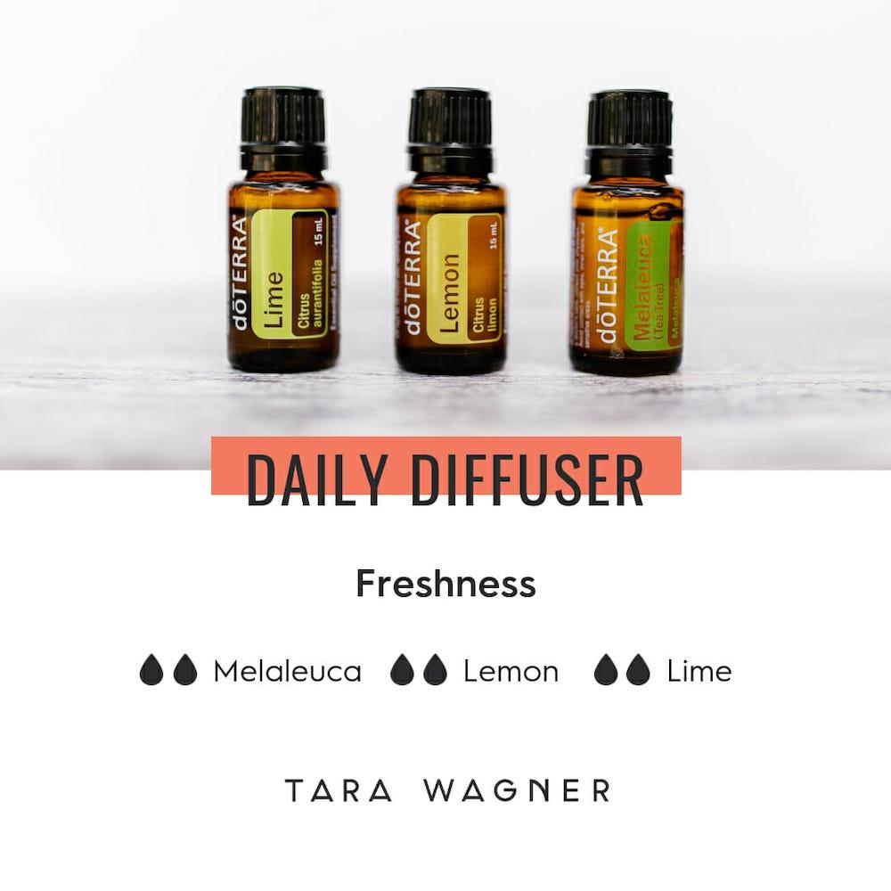 Diffuser recipe called Freshness depicting the recipe: 2 drops each of melaleuca, lime, and lemon essential oils