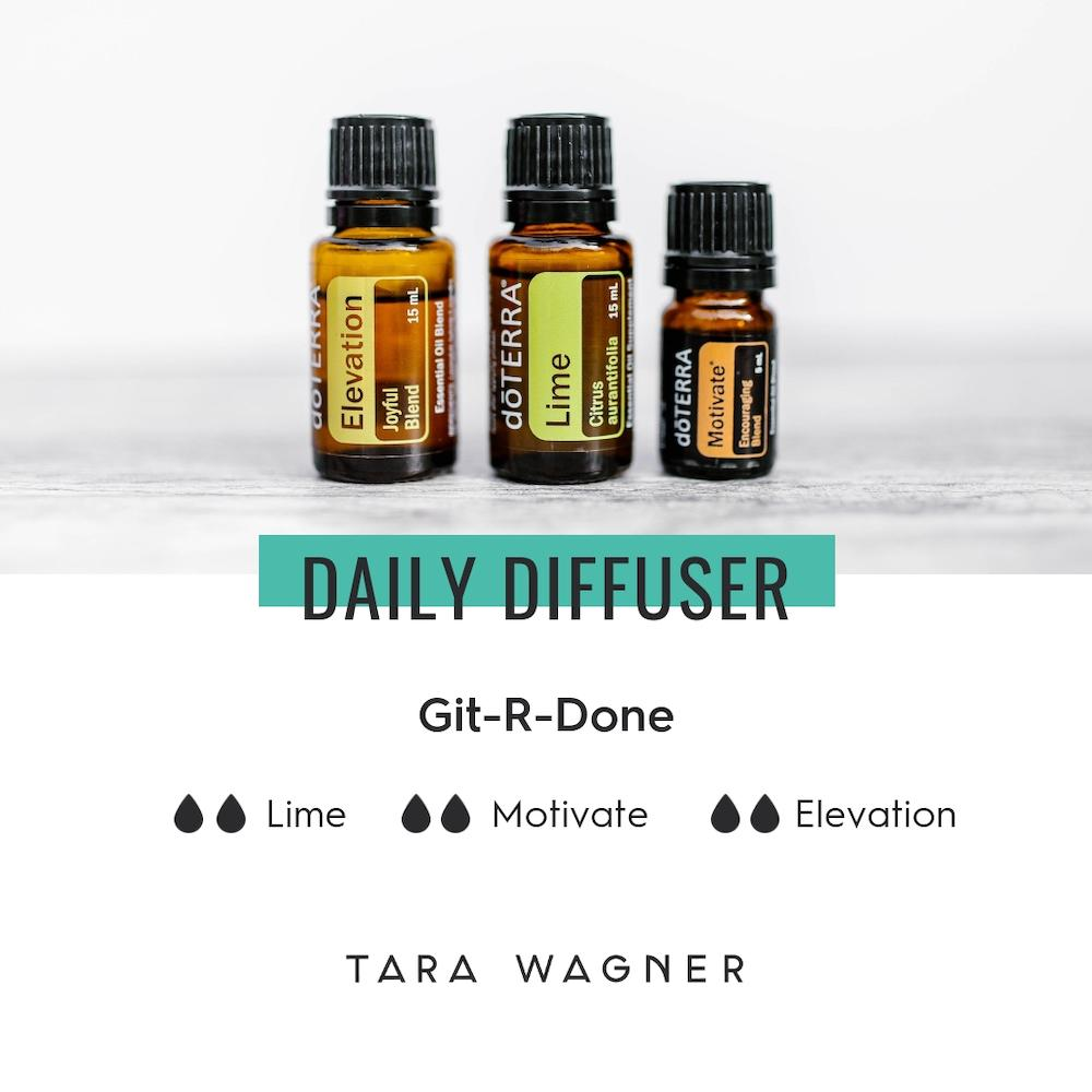 Diffuser recipe called Git-R-Done depicting the recipe: 2 drops each of lime, motivate, and elevation essential oils