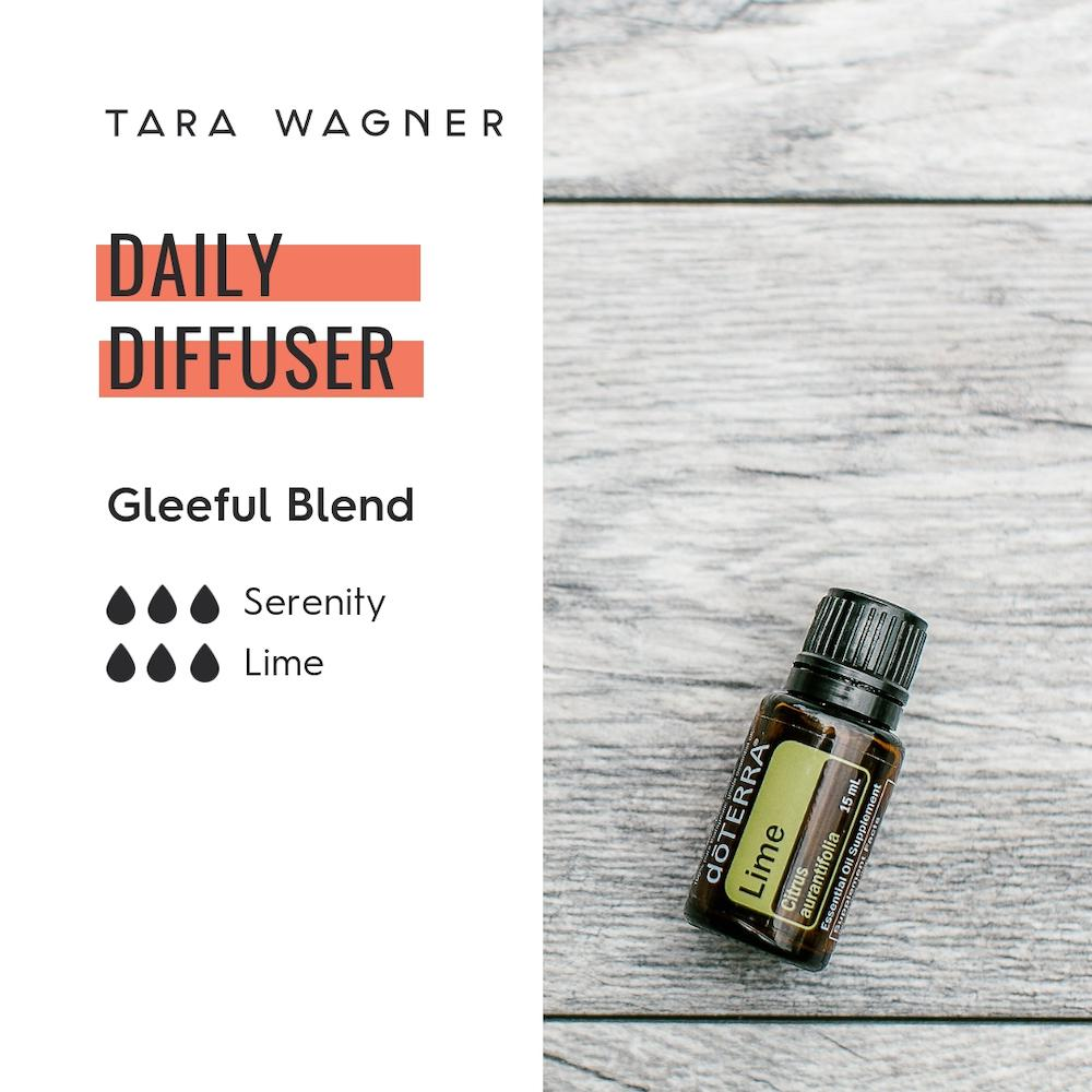 Diffuser recipe called Gleeful Blend depicting the recipe: 3 drops serenity and 3 drops lime essential oils