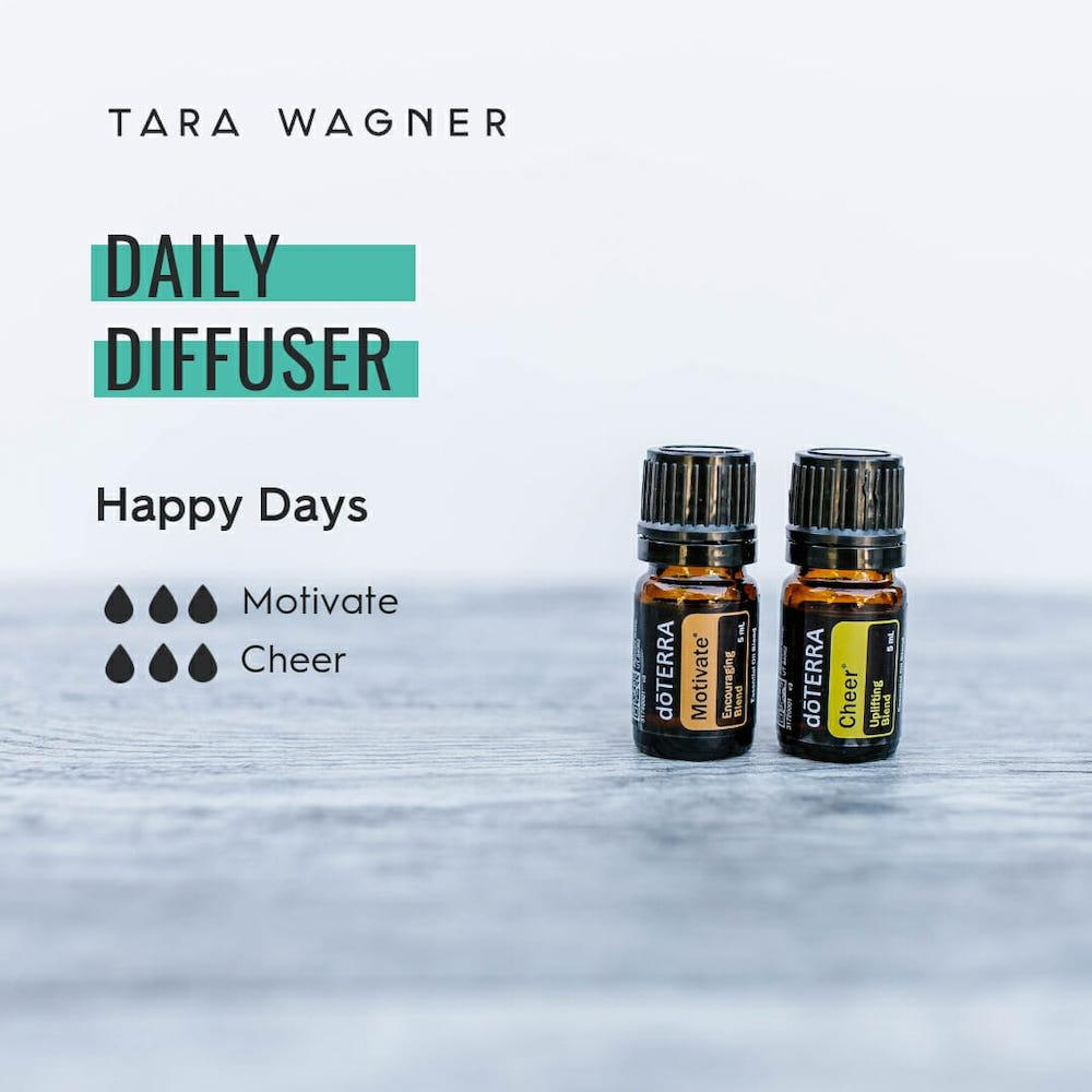 Diffuser recipe called Happy Days depicting the recipe: 3 drops each of motivate and cheer essential oils