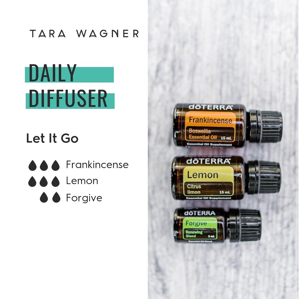 Diffuser recipe called Let It Go depicting the recipe: 3 drops frankincense, 3 drops lemon, and 2 drops forgive essential oils