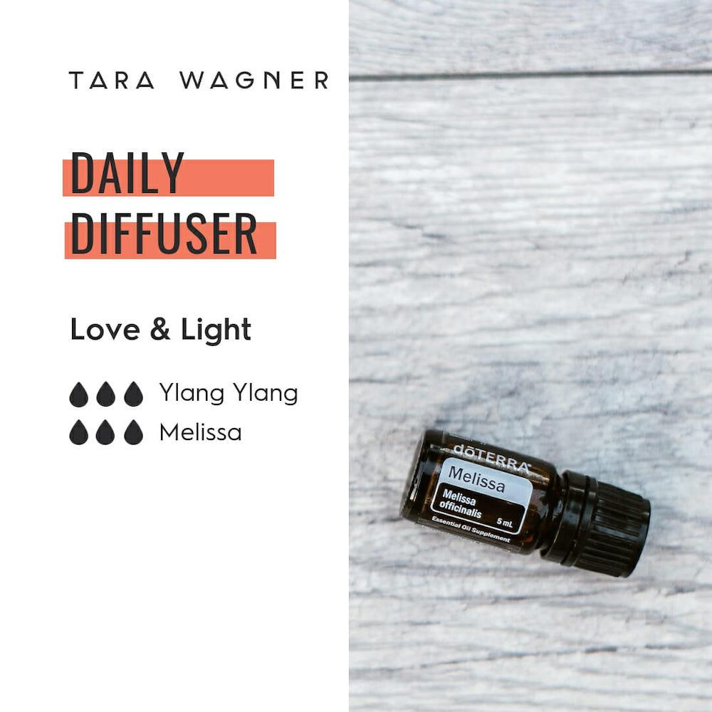 Diffuser recipe called Love & Light depicting the recipe: 3 drops each of ylang ylang and Melissa essential oils