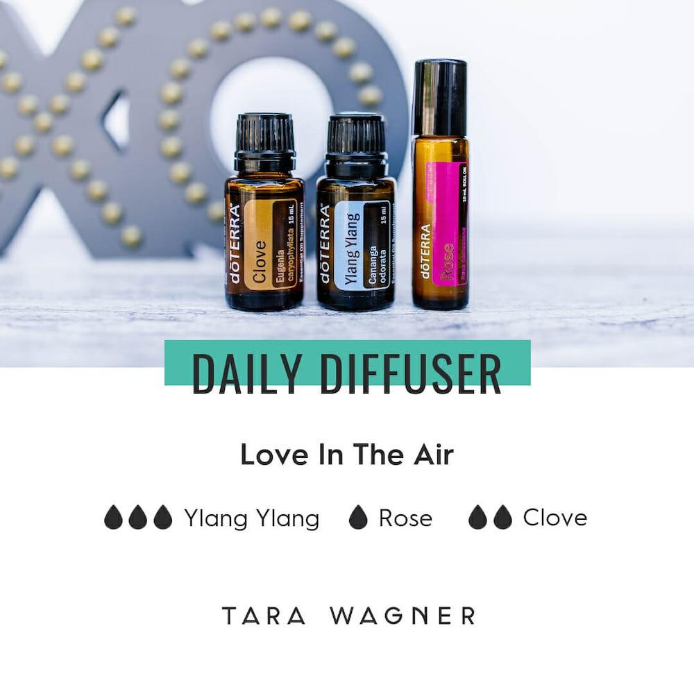 Diffuser recipe called Love In The Air depicting the recipe: 3 drops ylang yland, 1 drop rose, and 2 drops clove essential oils