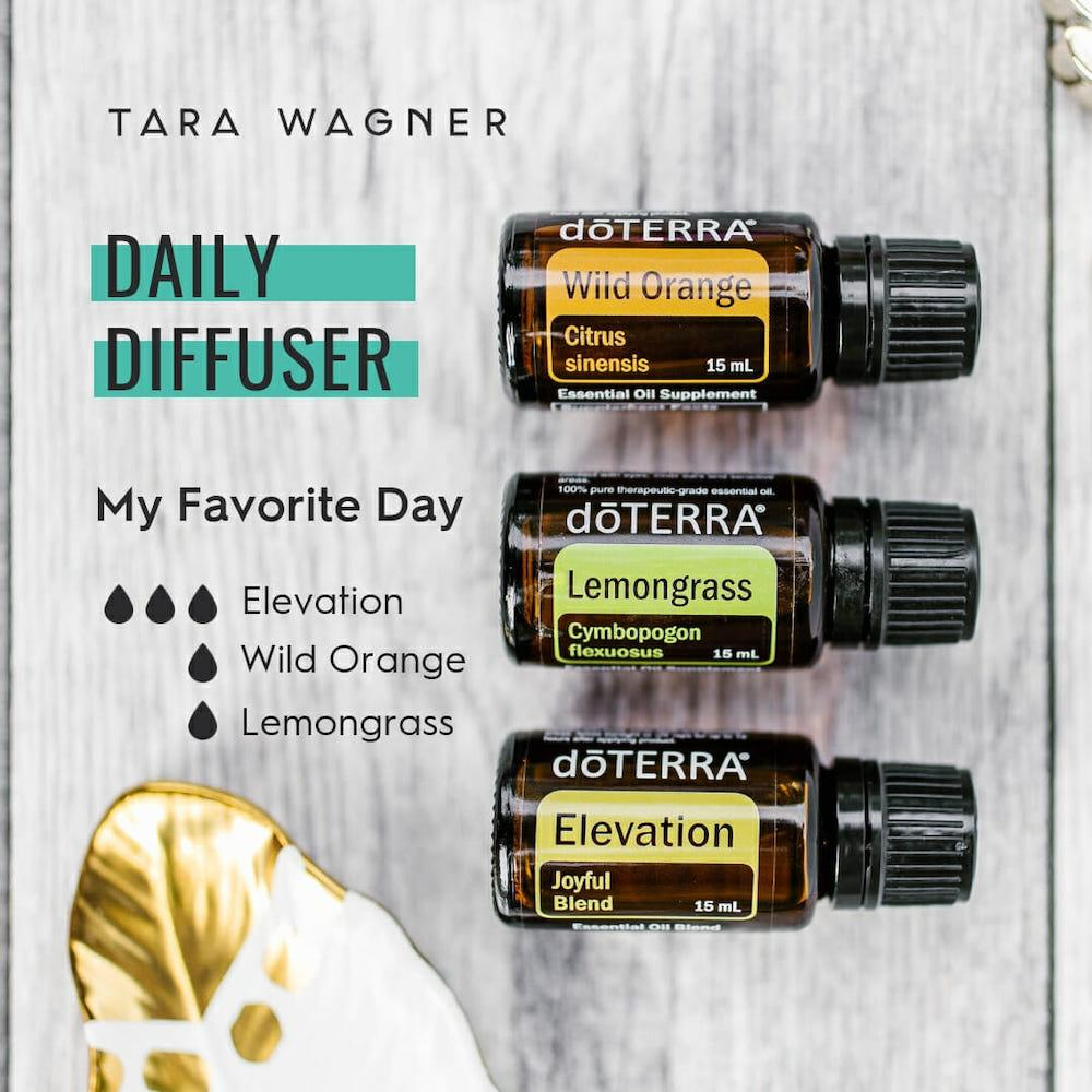 Diffuser recipe called My Favorite Day depicting the recipe: 3 drops elevation, 1 duo wild orange and 1 drop lemongrass essential oils