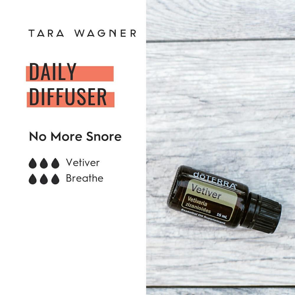 Diffuser recipe called No More Snore depicting the recipe: 3 drops each of vetiver and breathe essential oils