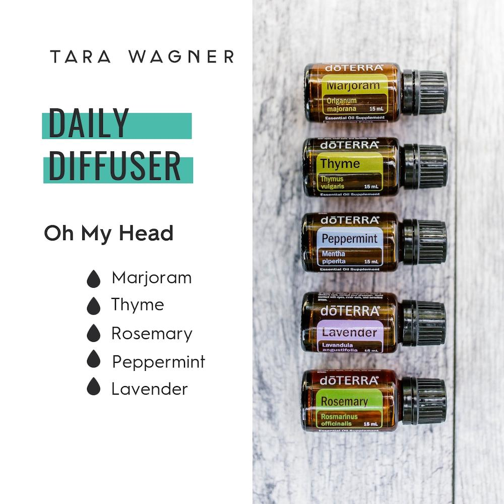 Diffuser recipe called Oh My Head depicting the recipe: 1 drop each of marjoram, thyme, rosemary, peppermint, and lavender essential oils