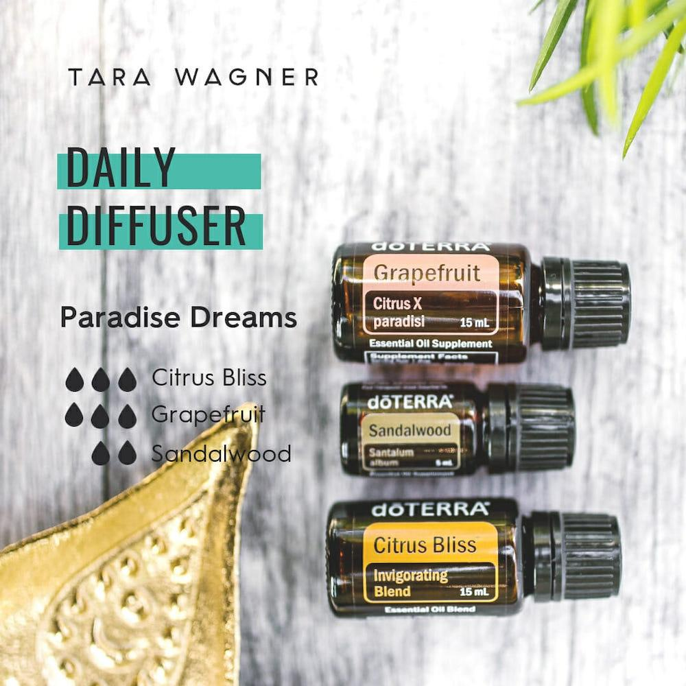 Diffuser recipe called Paradise Dreams depicting the recipe: 3 drops each of citrus bliss and grapefruit and 2 drops of sandalwood essential oils