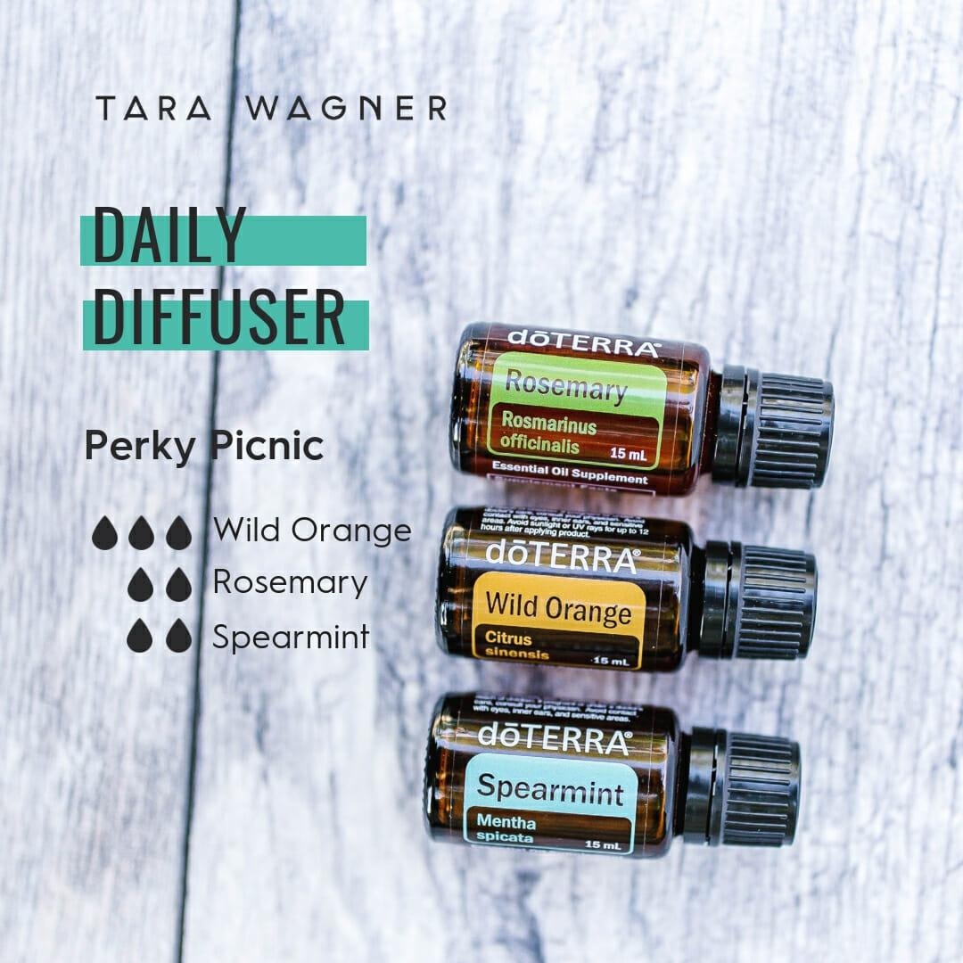 Diffuser recipe called Perky Picnic depicting the recipe: 3 drops wild orange, 2 drops rosemary, 2 drops spearmint essential oils
