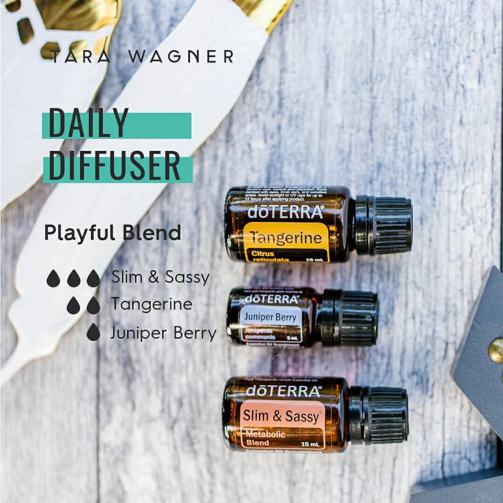 Diffuser recipe called Playful Blend depicting the recipe: 3 drops slim & sassy, 2 drops tangerine, 1 drop juniper berry essential oils