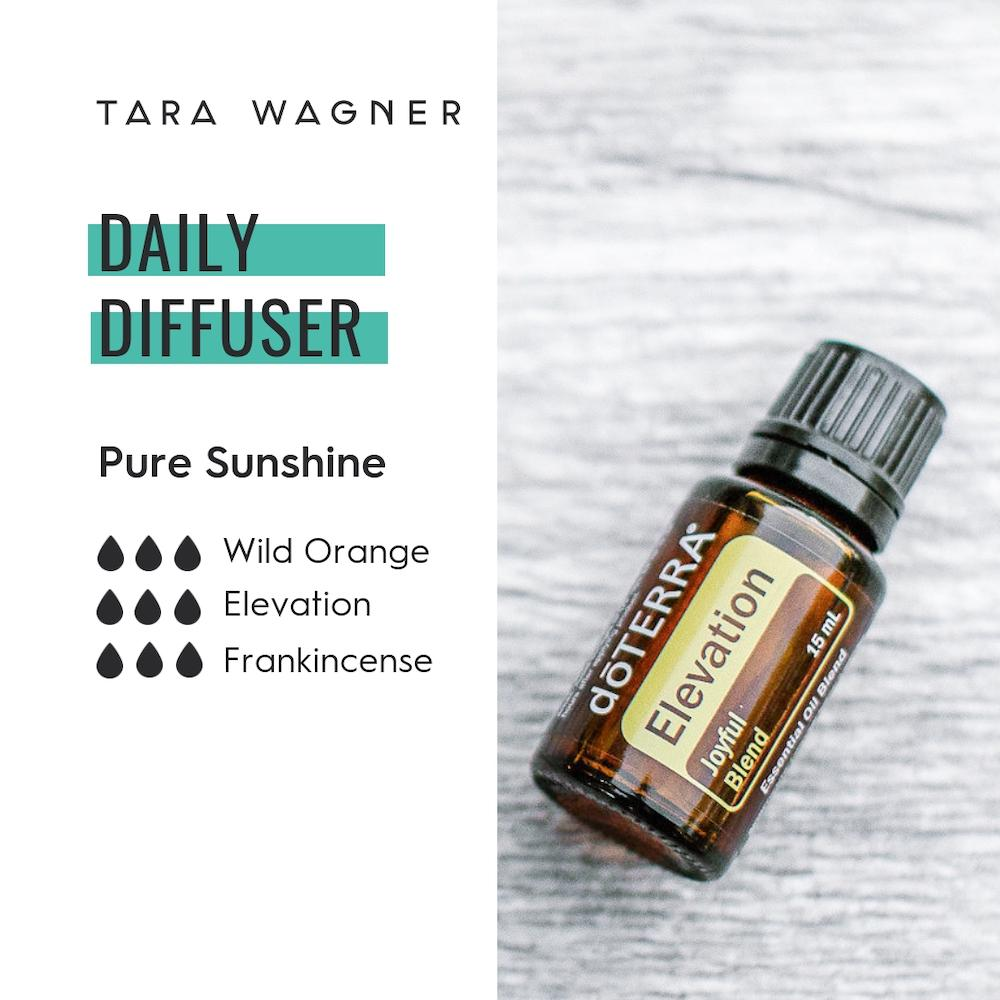 Diffuser recipe called Pure Sunshine depicting the recipe: 3 drops each of wild orange elevation and frankincense essential oils