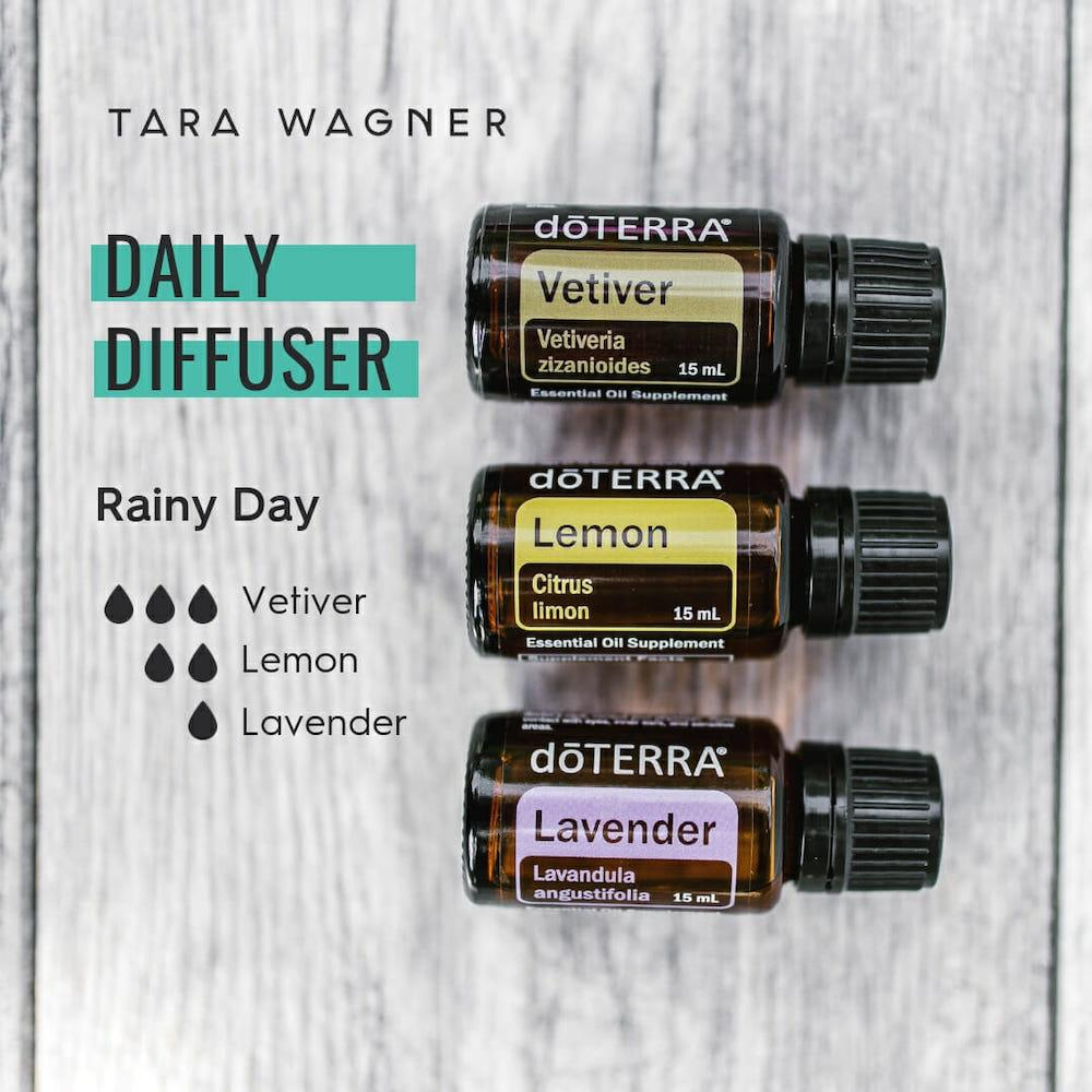 Diffuser recipe called Rainy Day depicting the recipe: 3 drops vetiver, 2 drops lemon, 1 drop lavender essential oils