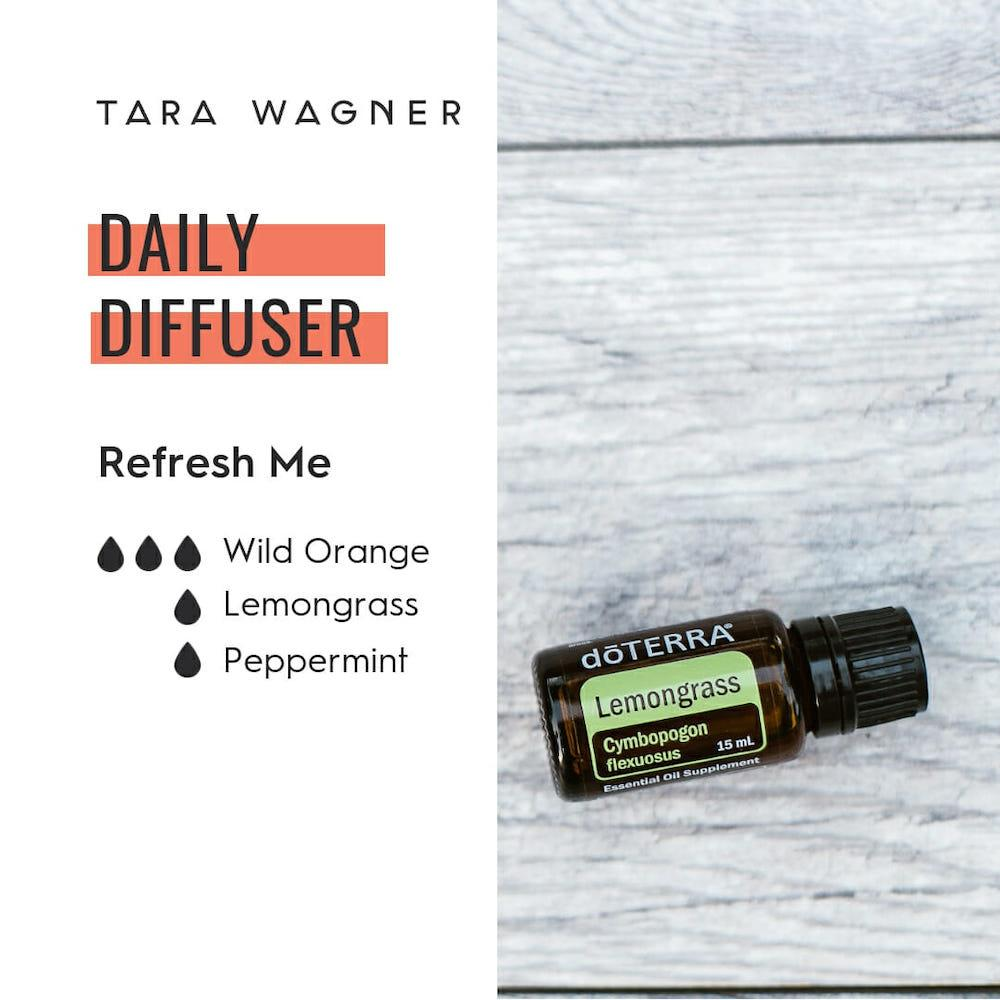 Diffuser recipe called Refresh Me depicting the recipe: 3 drops wild orange, 1 drop lemongrass, 1 drop peppermint essential oils