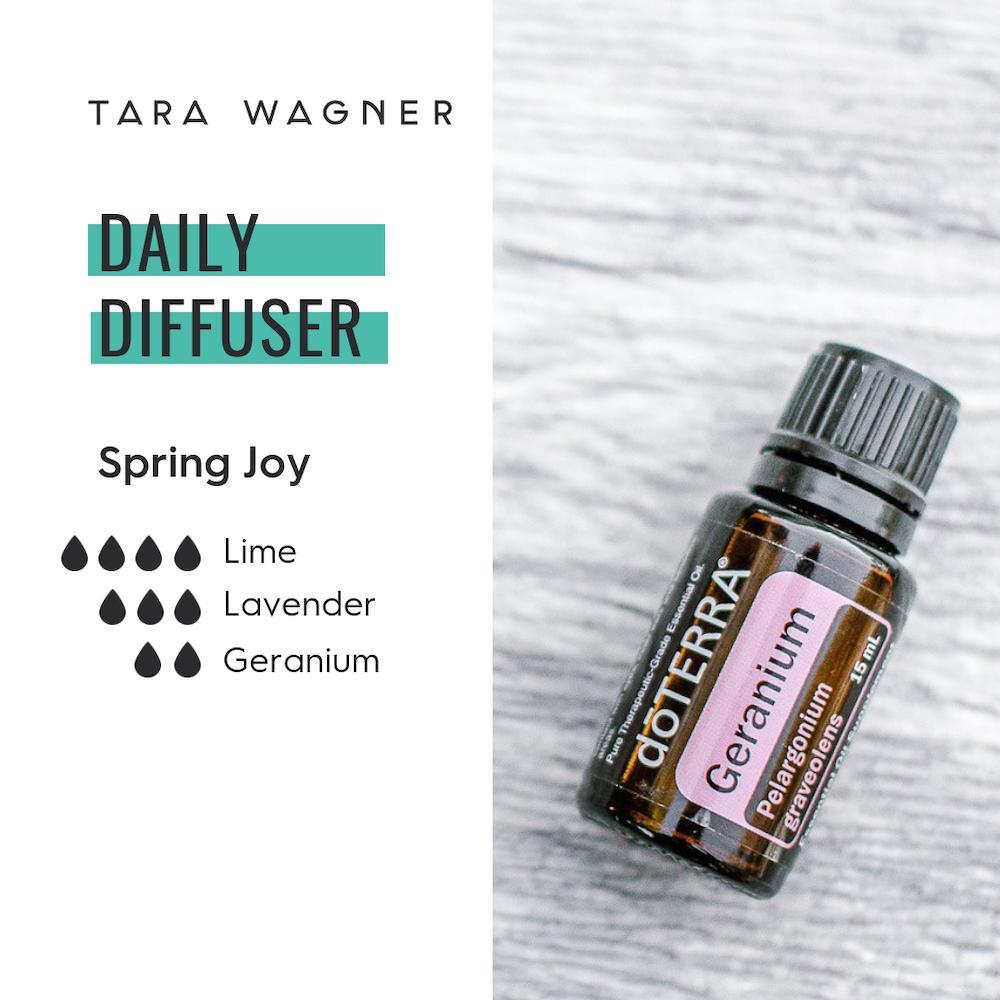 Diffuser recipe called Spring Joy depicting the recipe: 4 drops lime, 3 drops lavender, and 2 drops geranium essential oils