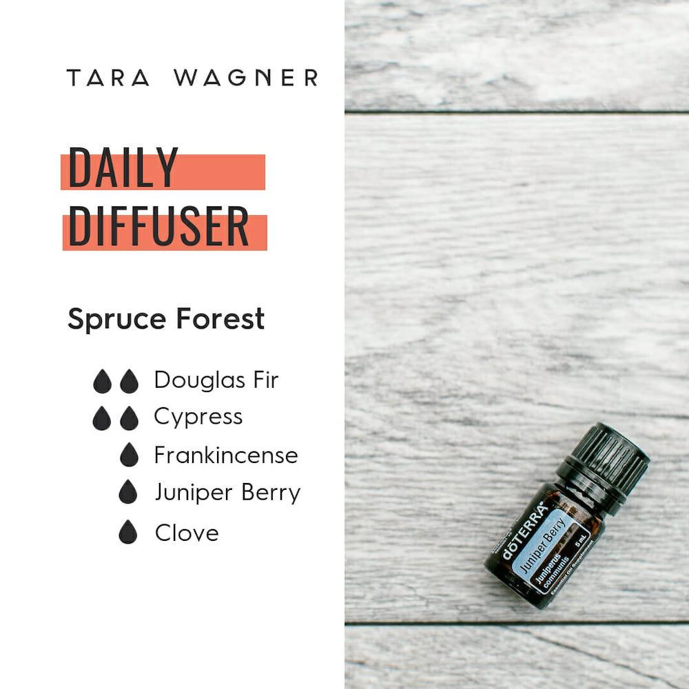 Diffuser recipe called Spruce Forest depicting the recipe: 2 drops Douglas fir, 2 drops cypress, 1 drop frankincense, 1 drop juniper berry, 1 drop clove essential oils