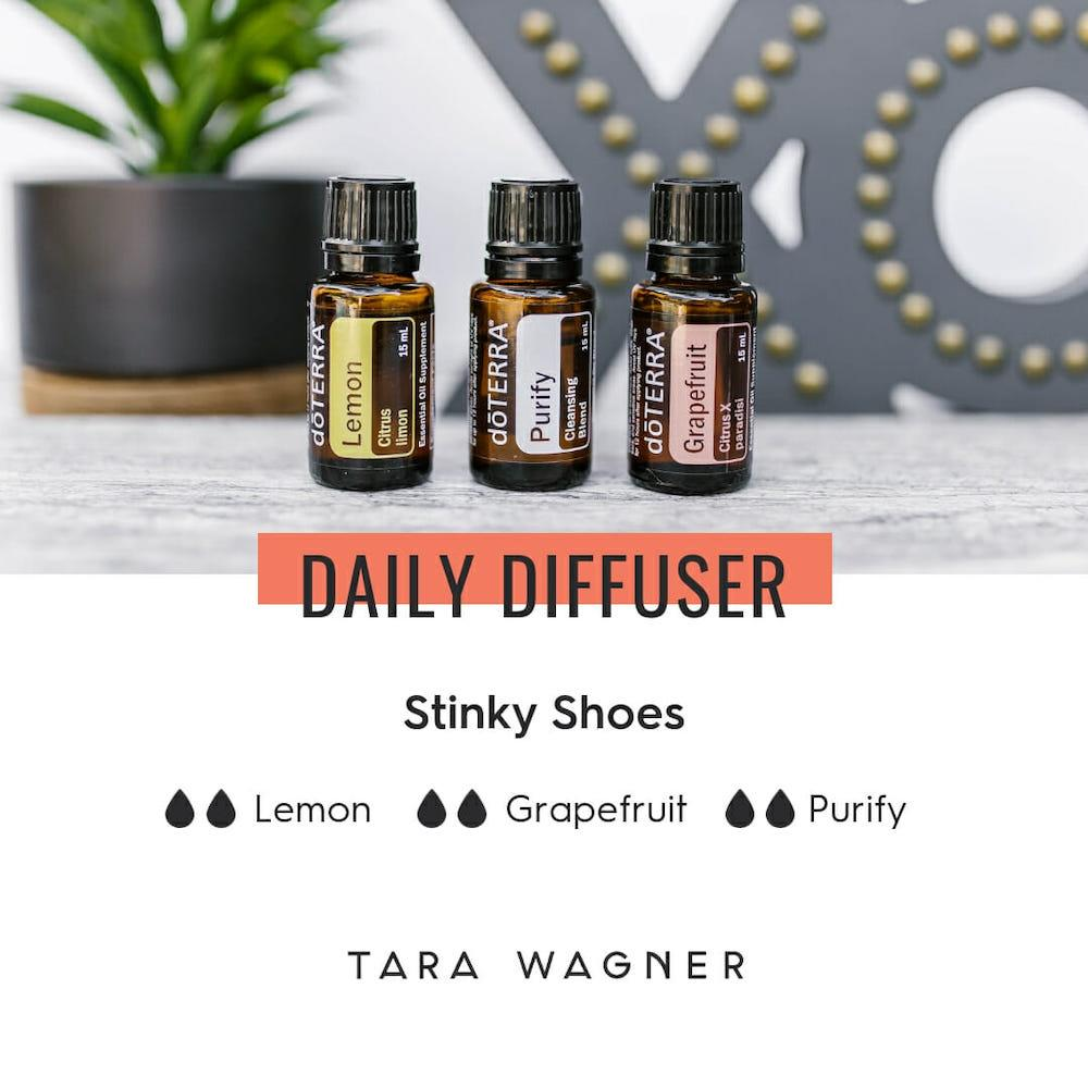 Diffuser recipe called Stinky Shoes depicting the recipe: 2 drops each of lemon, grapefruit, and purify essential oils