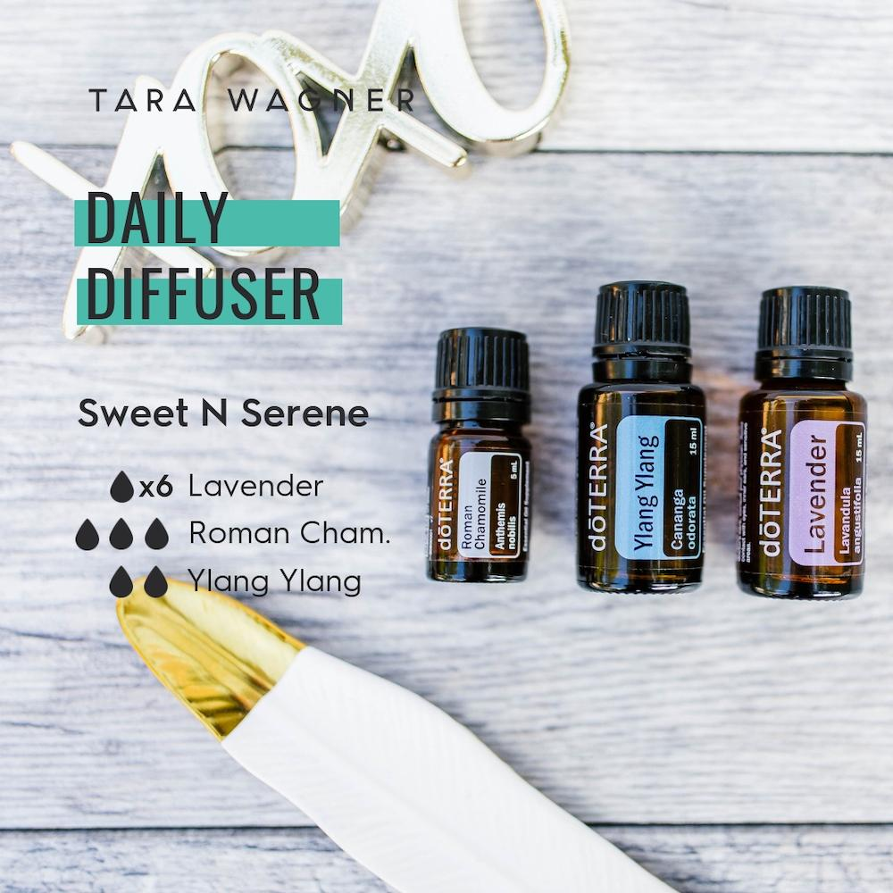Diffuser recipe called Sweet N Serene depicting the recipe: 6 drops lavender, 3 drops roman chamomile, and 2 drops ylang ylang essential oils