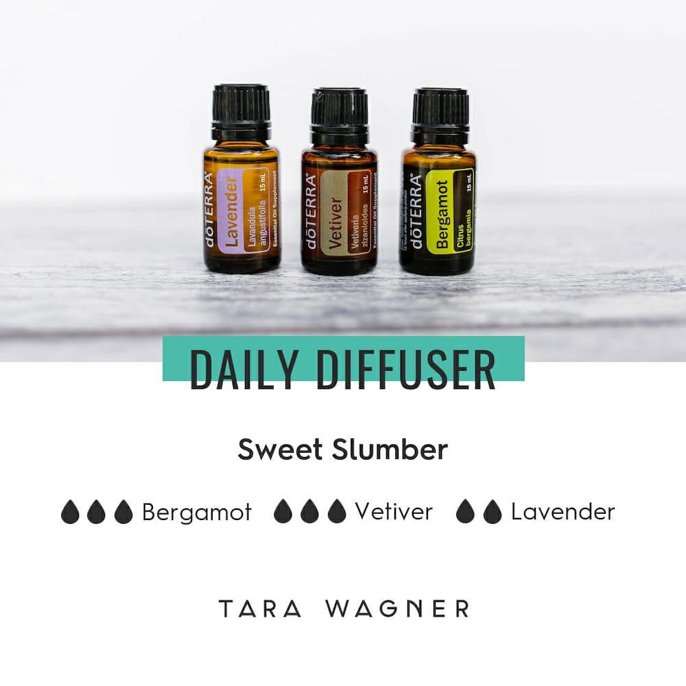 Diffuser recipe entitled Sweet Slumber depicting 3 drops Bergamot essential oil, 3 drops Vetiver essential oil, and 2 drops Lavender essential oil