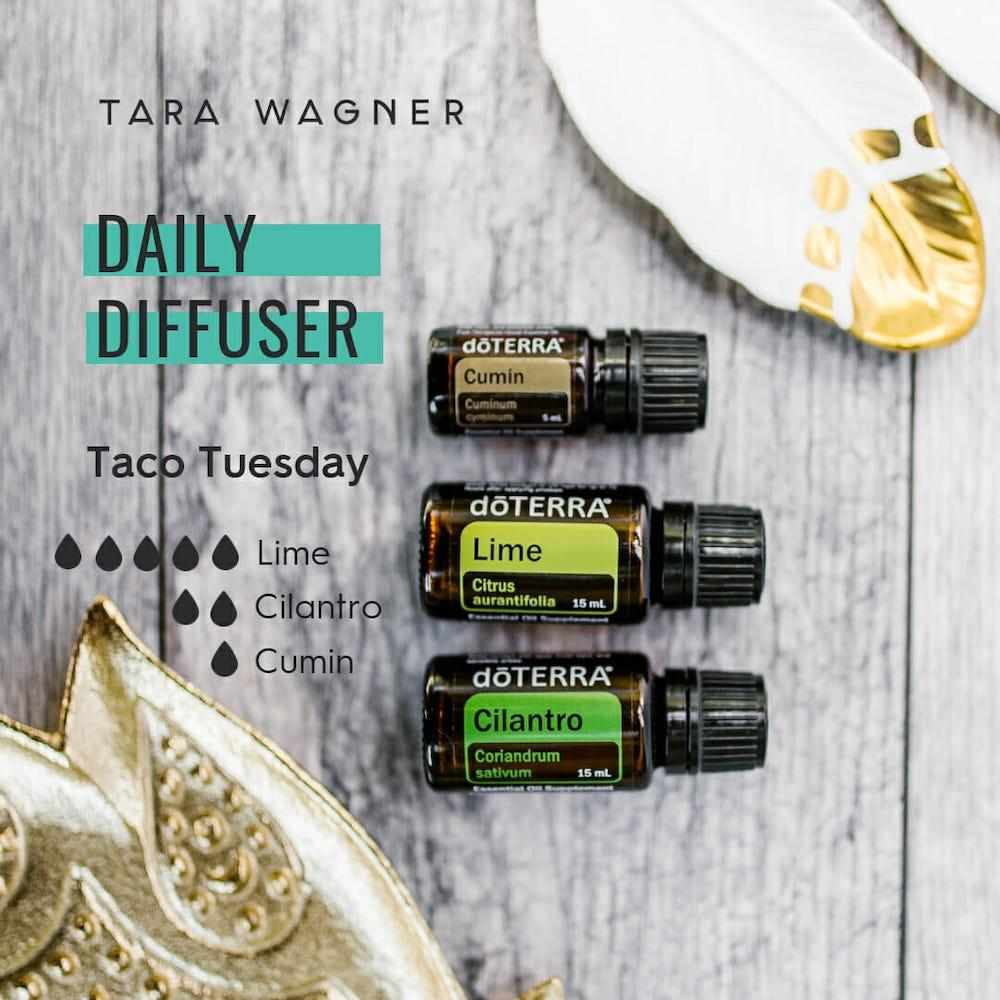 Diffuser recipe called Taco Tuesday depicting the recipe: 5 drops each of lime, 2 drops cilantro, and 1 drop cumin essential oils