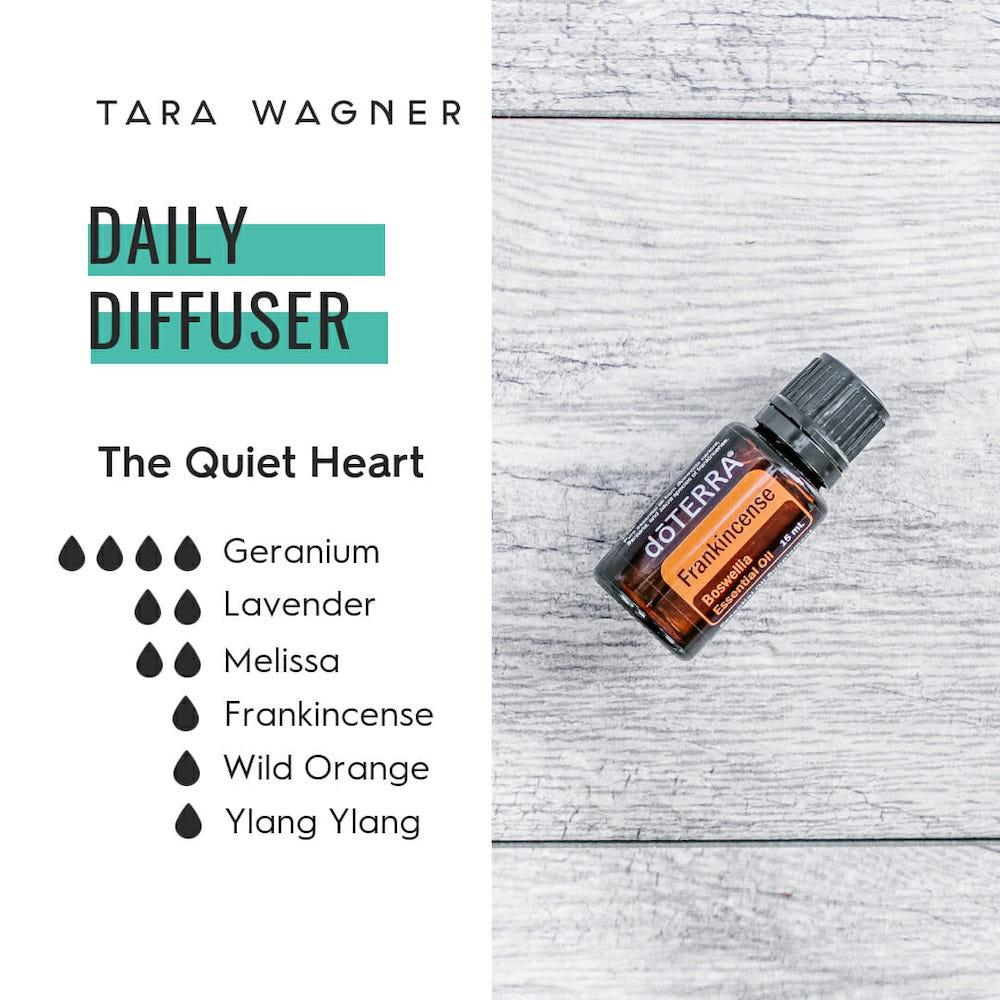 Diffuser recipe called The Quiet Heart depicting the recipe: 4 drops geranium, 2 drops lavender, 2 drops Melissa, 1 drop frankincense, 1 drop wild orange, and 1 drop ylang ylang essential oils