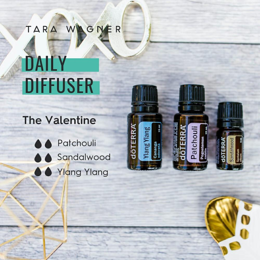 Diffuser recipe called The Valentine depicting the recipe: 2 drops each of patchouli, sandalwood, and ylang ylang essential oils