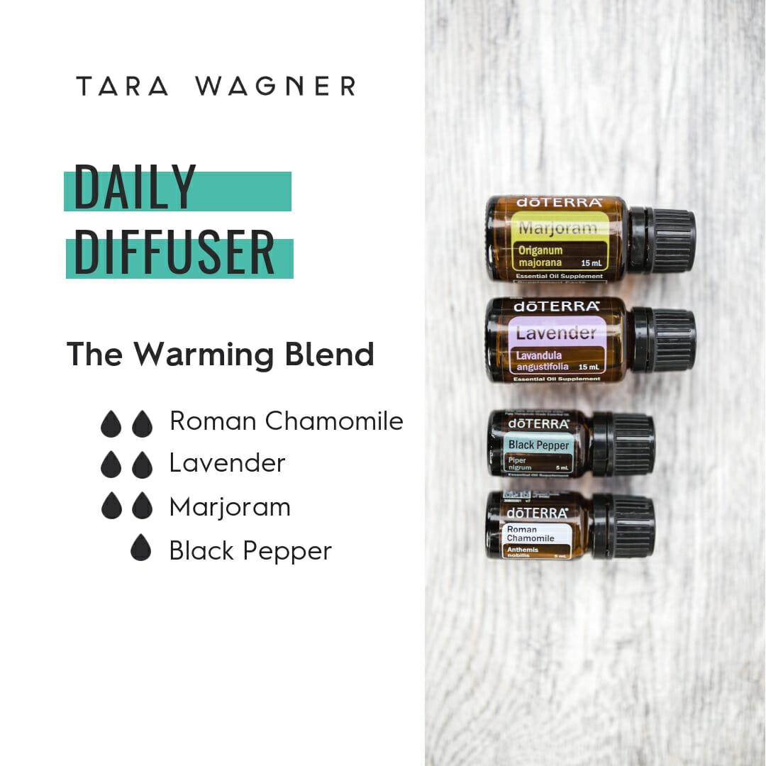 Diffuser recipe called The Warming Blend depicting the recipe: 2 drops each of roman chamomile, lavender, and marjoram and 1 drop black pepper essential oils