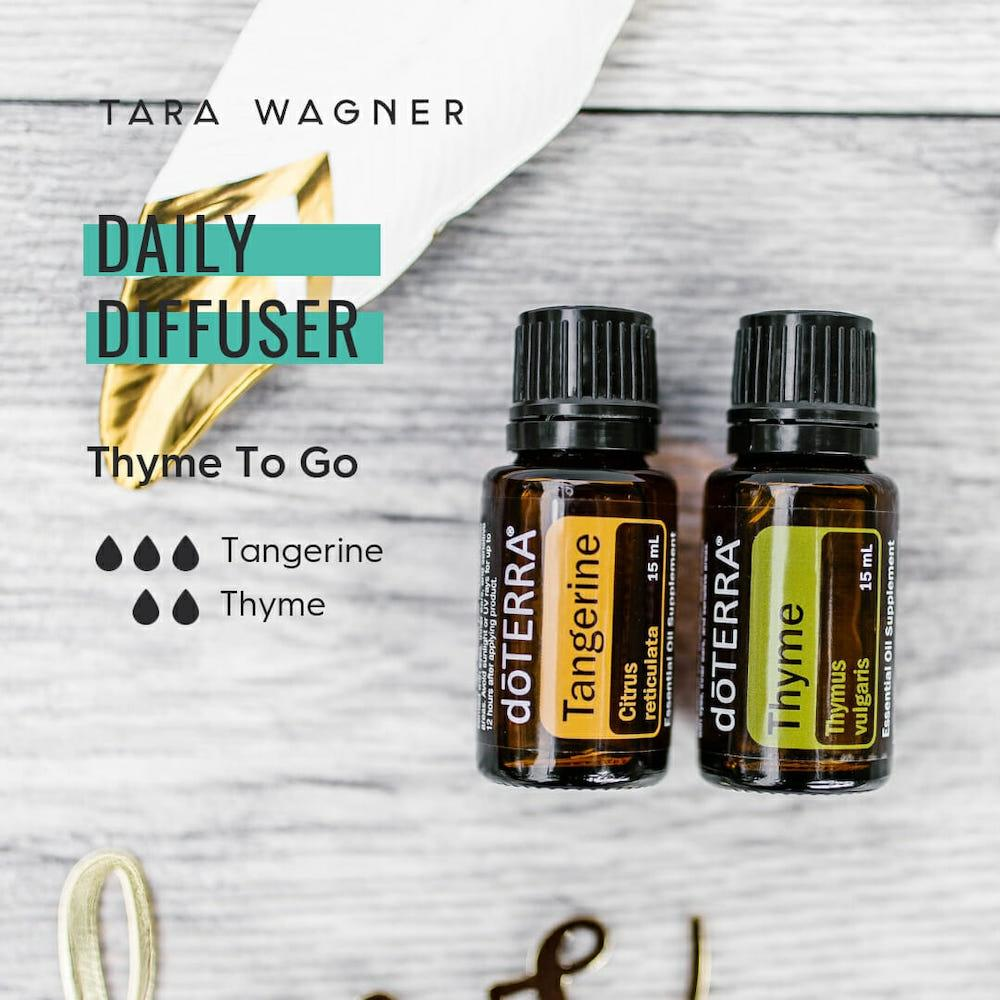 Diffuser recipe called Thyme to Go depicting the recipe: 3 drops tangerine dn 2 drops thyme essential oils