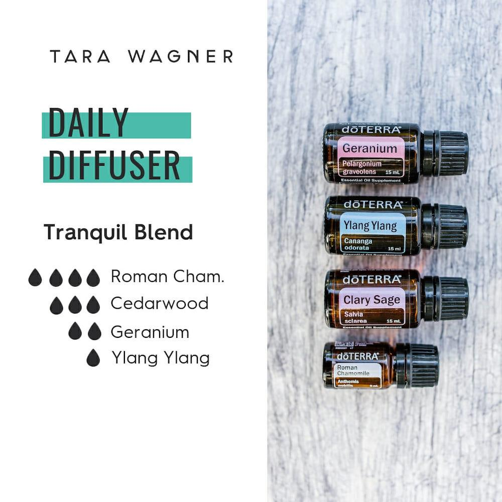 Diffuser recipe called Tranquil Blend depicting the recipe: 4 drops roman chamomile, 3 drops cedarwood, 2 drops geranium, 1 drop ylang ylang essential oils