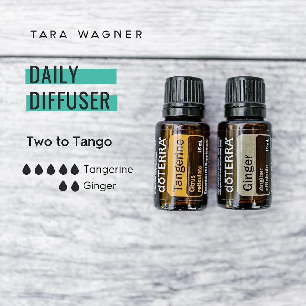 Diffuser recipe called Two To Tango depicting the recipe: 5 drops tangerine and 2 drops ginger essential oils