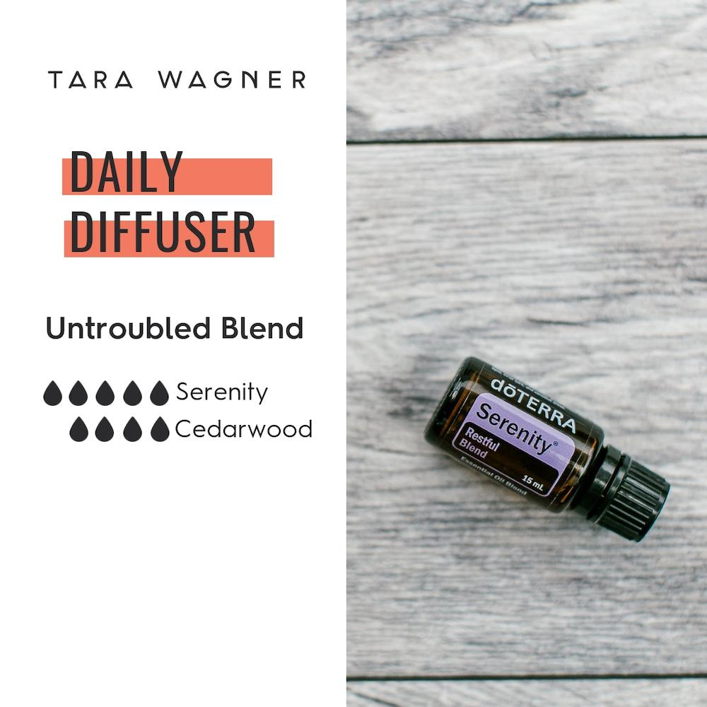 Diffuser recipe called Untroubled depicting the recipe: 5 drops serenity and 4 drops cedarwood essential oils