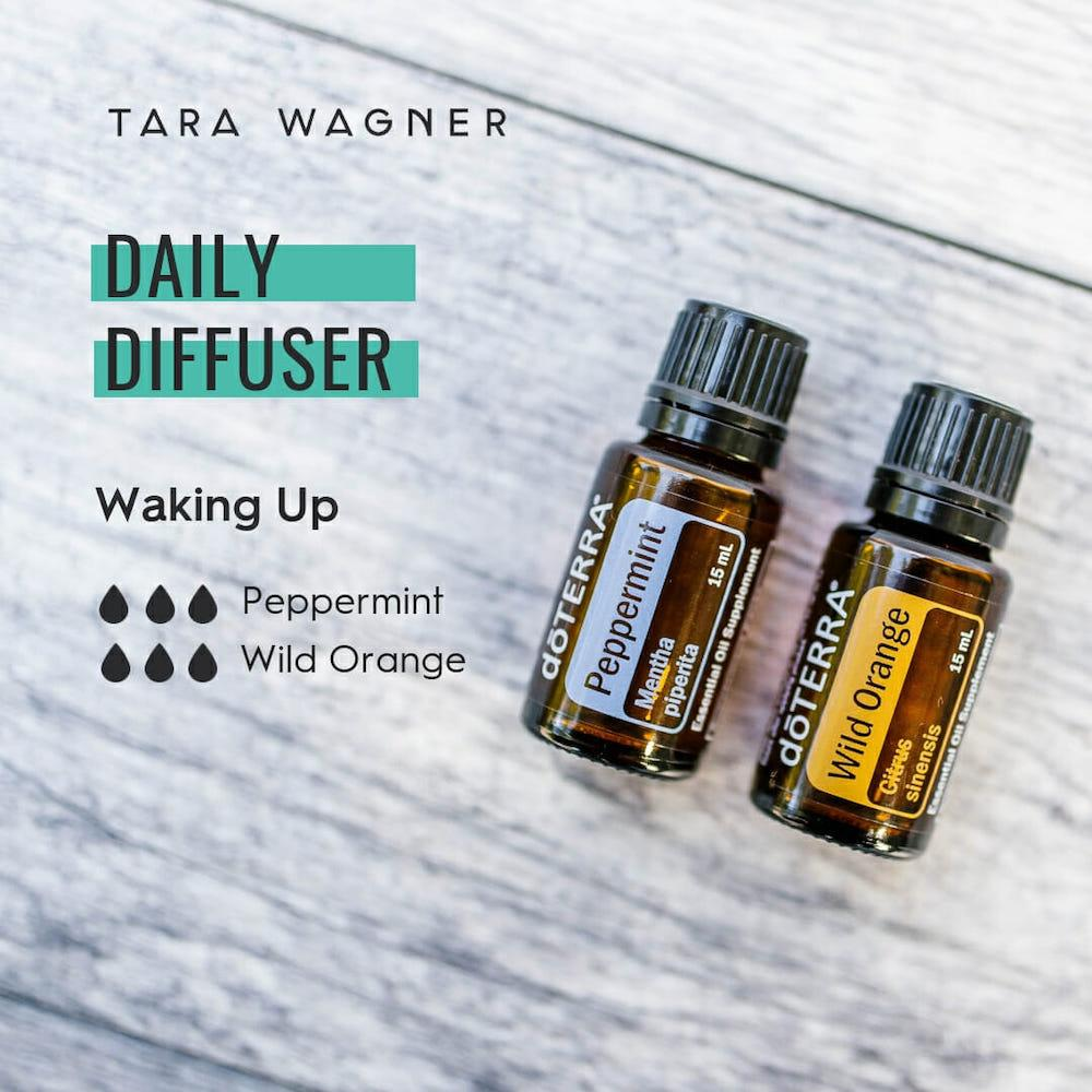 Diffuser recipe called Waking Up depicting the recipe: 3 drops peppermint and 3 drops wild orange essential oils