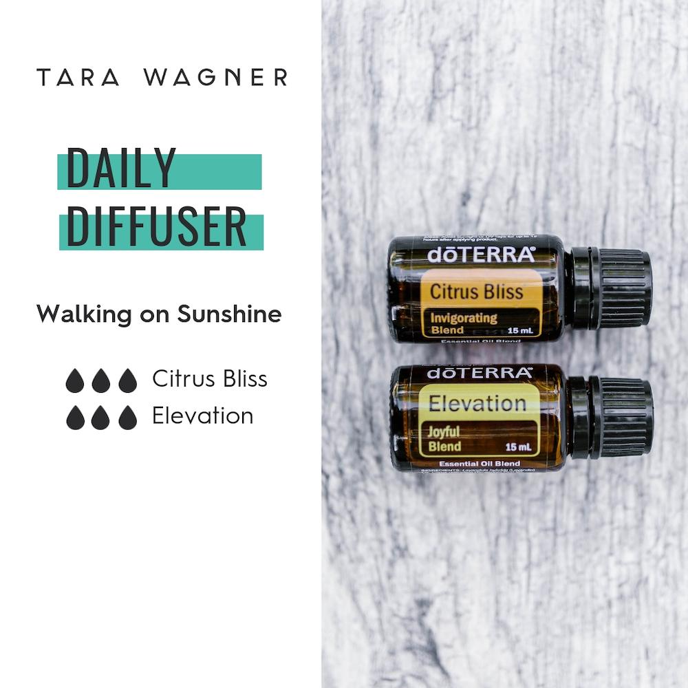 Diffuser recipe called Walking on Sunshine depicting the recipe: 3 drops each citrus bliss and elevation essential oils