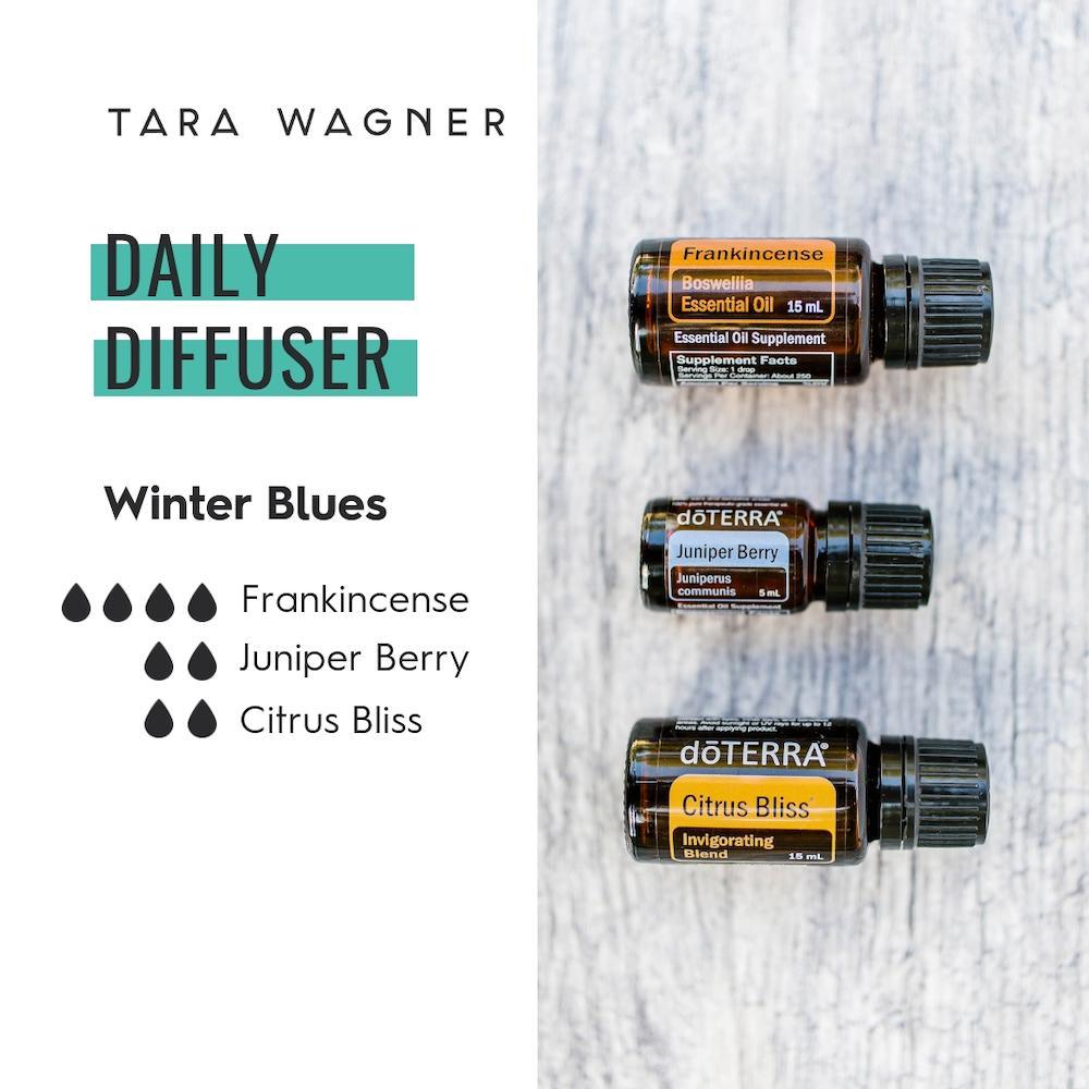 Diffuser recipe called Winter Blues depicting the recipe: 4 drops frankincense, 2 drops juniper berry, and 2 drops citrus bliss essential oils