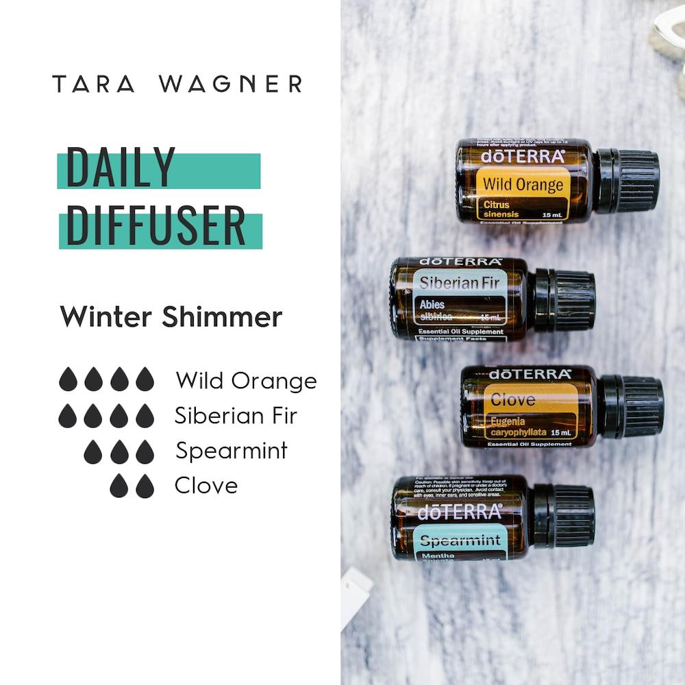 Diffuser recipe called Winter Shimmer depicting the recipe: 4 drops wild orange, 4 drops Siberian fir, 3 drops spearmint, and 2 drops clove essential oils