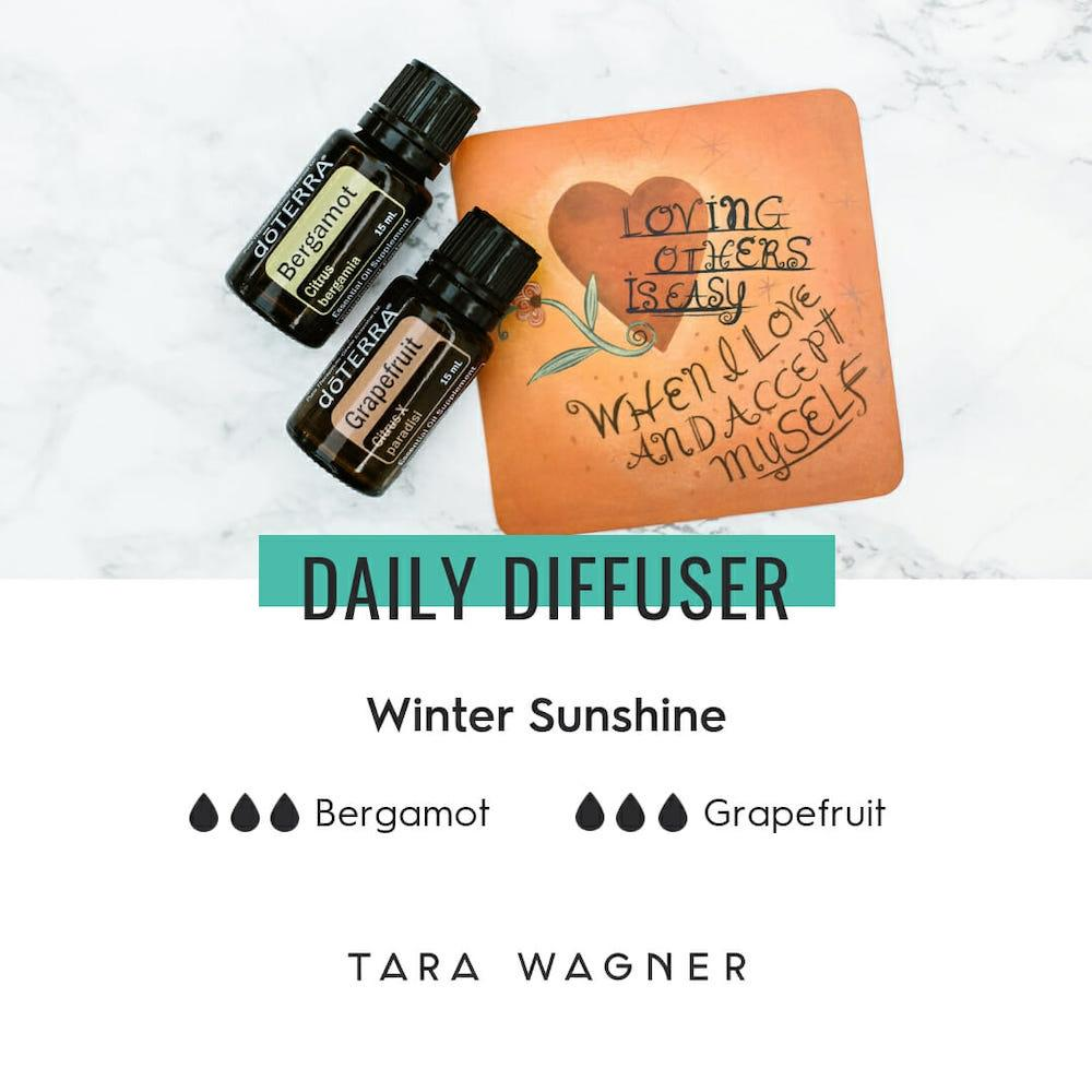 Diffuser recipe called Winter Sunshine depicting the recipe: 3 drops bergamot and 3 drops grapefruit essential oils