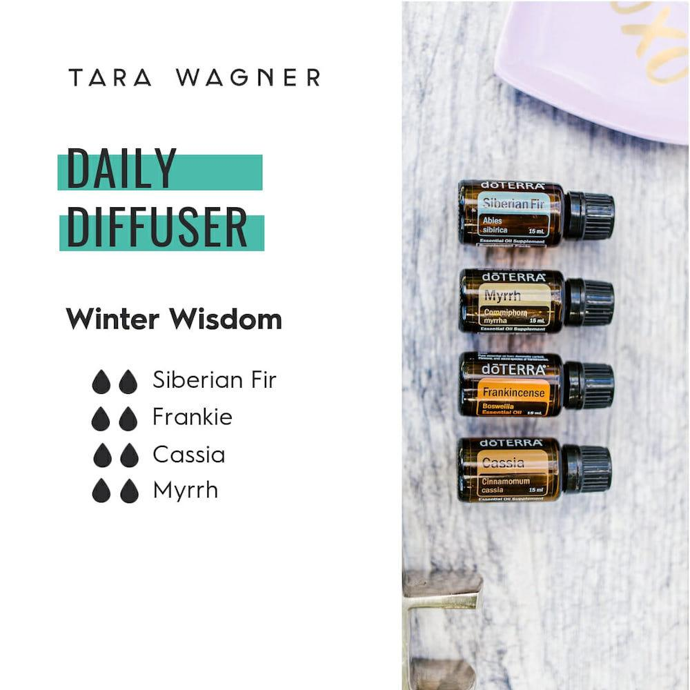 Diffuser recipe called Winter Wisdom depicting the recipe: 2 drops each of Siberian fir, frankincense, cassia, and myrrh essential oils