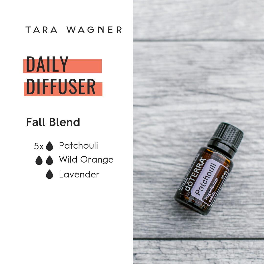 Diffuser recipe called Fall Blend depicting the recipe: 5 drops patchouli, 2 drops wild orange, and 1 drop lavender essential oils